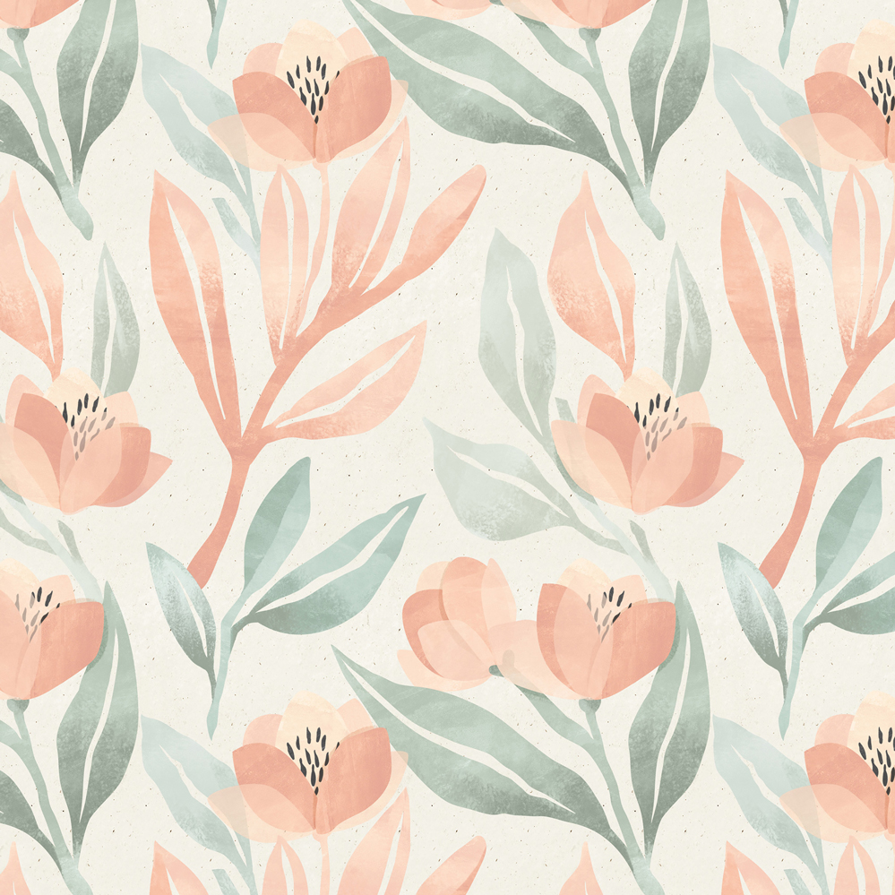 Anewall Orange Blossom Modern Classic Pastel Floral Wallpaper