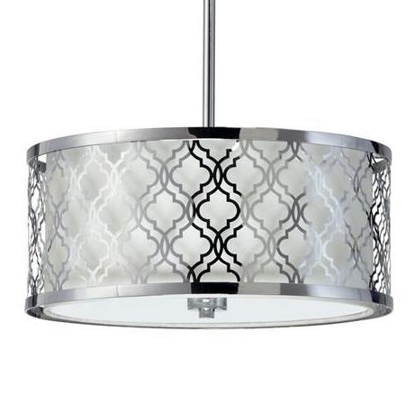 Small Round Lattice Silver Chrome Metal Filigree Pendant Lamp