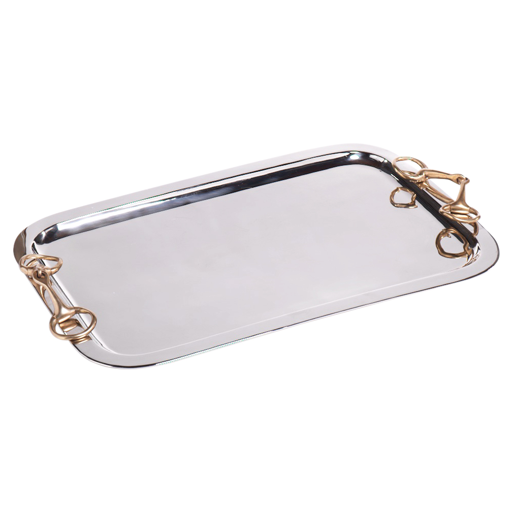 Todd Modern Classic 24 Rectangular Silver Steel Tray With Horse Bit Handles