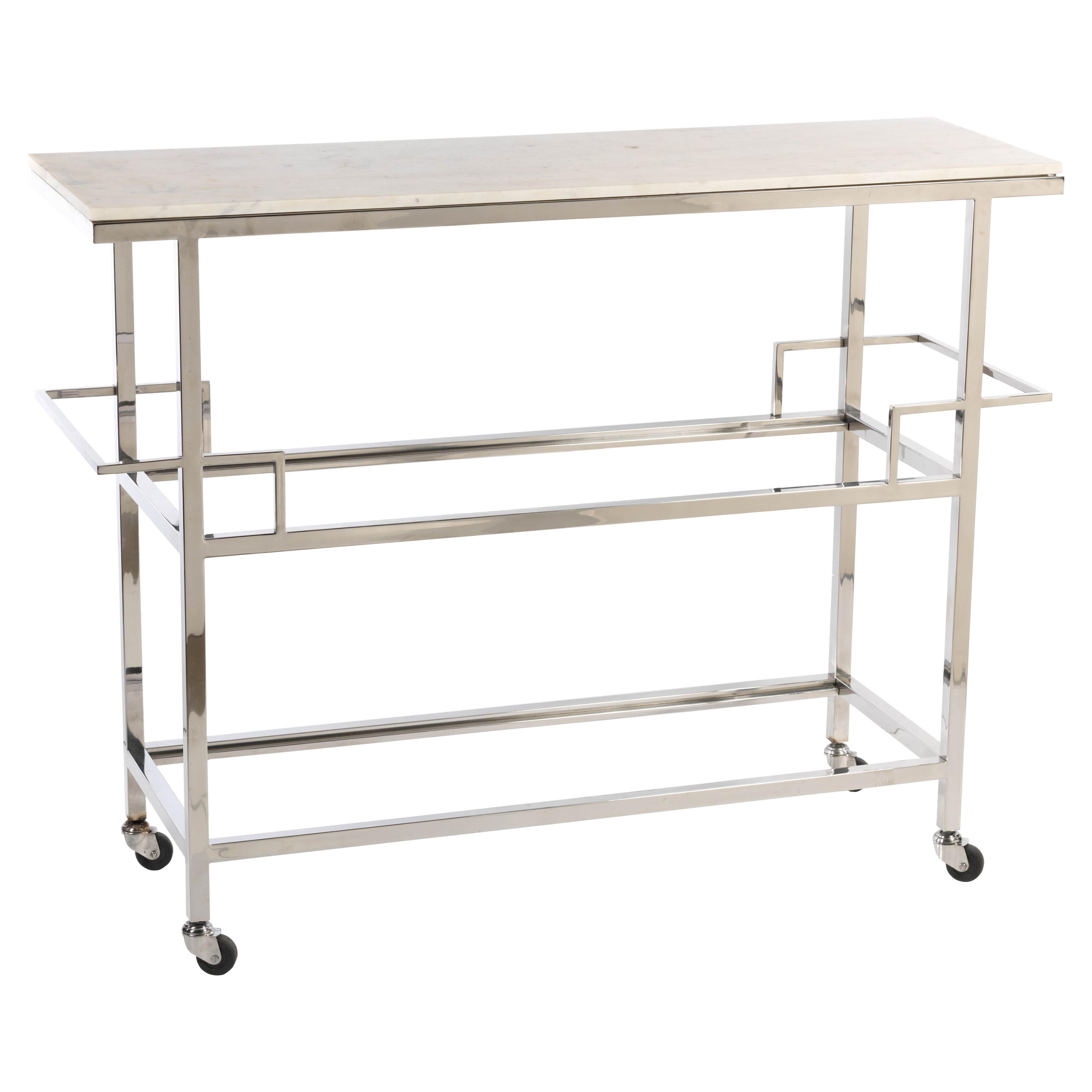 Meadow Modern Classic Marble Top Metal Bar Cart