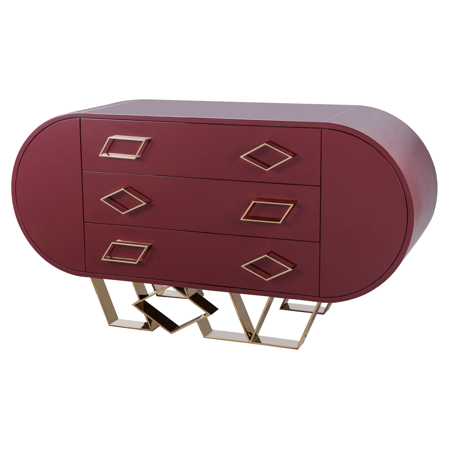 Kelly Hoppen Sting Modern High Gloss Burgundy Brass Accent Rounded Credenza