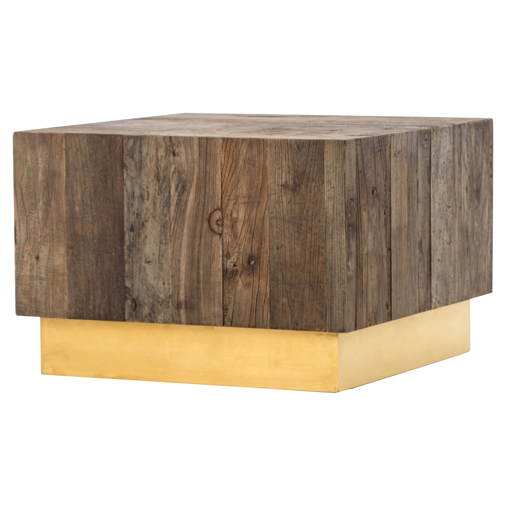 Jensen Modern Rustic Reclaimed Wood Gold Square Bunching Accent Table