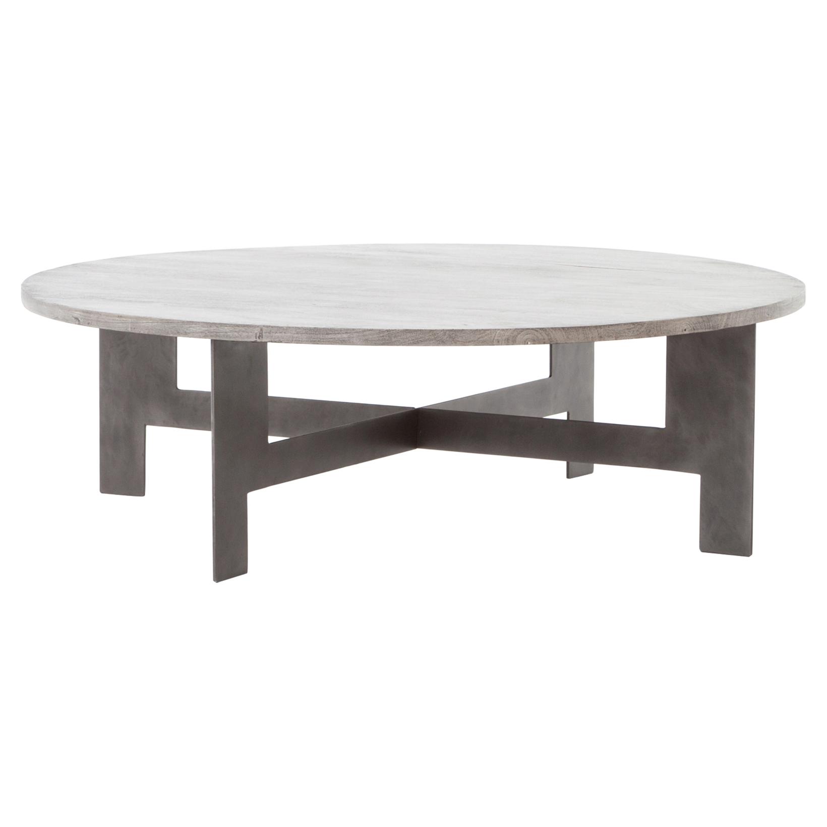 Ingo Industrial Loft Grey Wood Iron Round Coffee Table