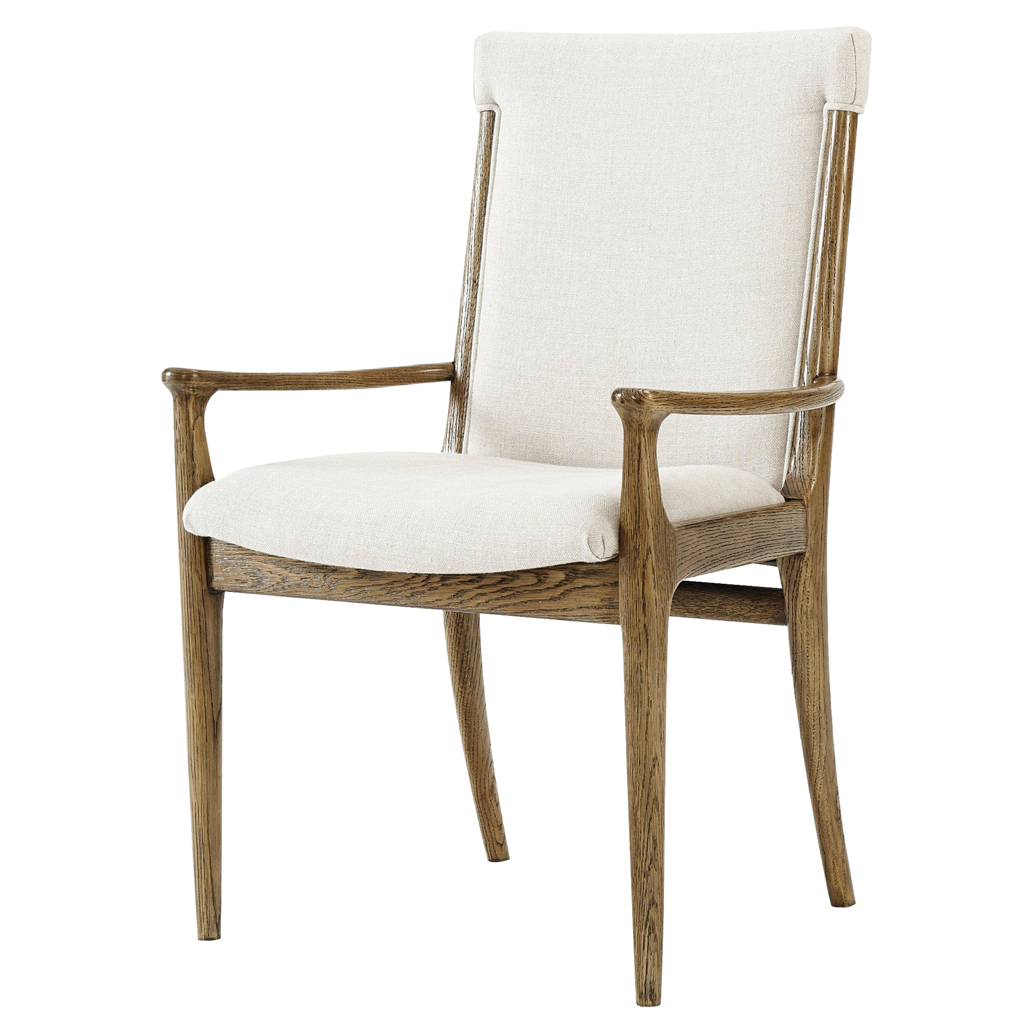 Theodore Alexander Westwood Solid Oak Oatmeal Linen Dining Armchair