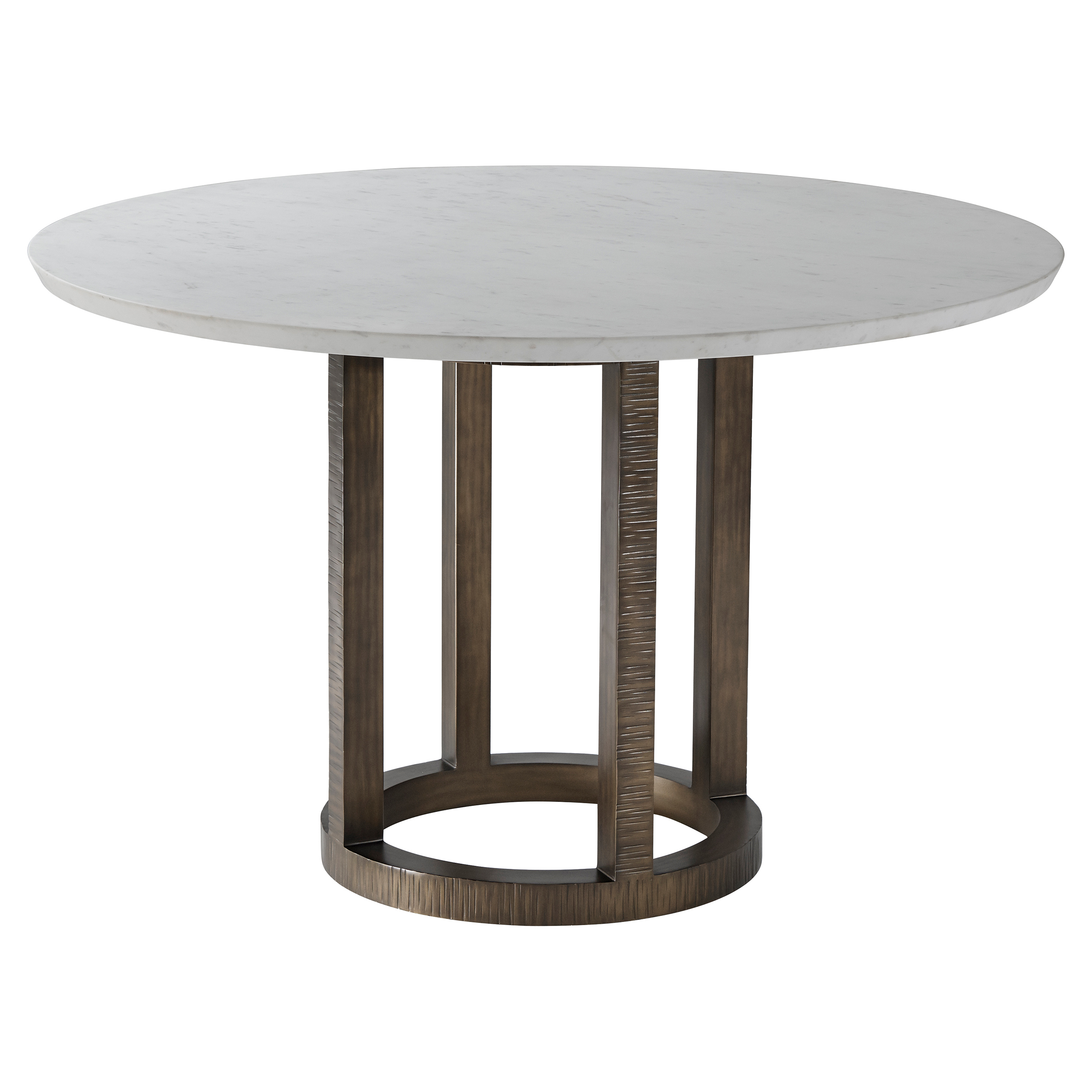 Theodore Alexander Hermosa Table II Honed White Marble Top Round Dining  Table