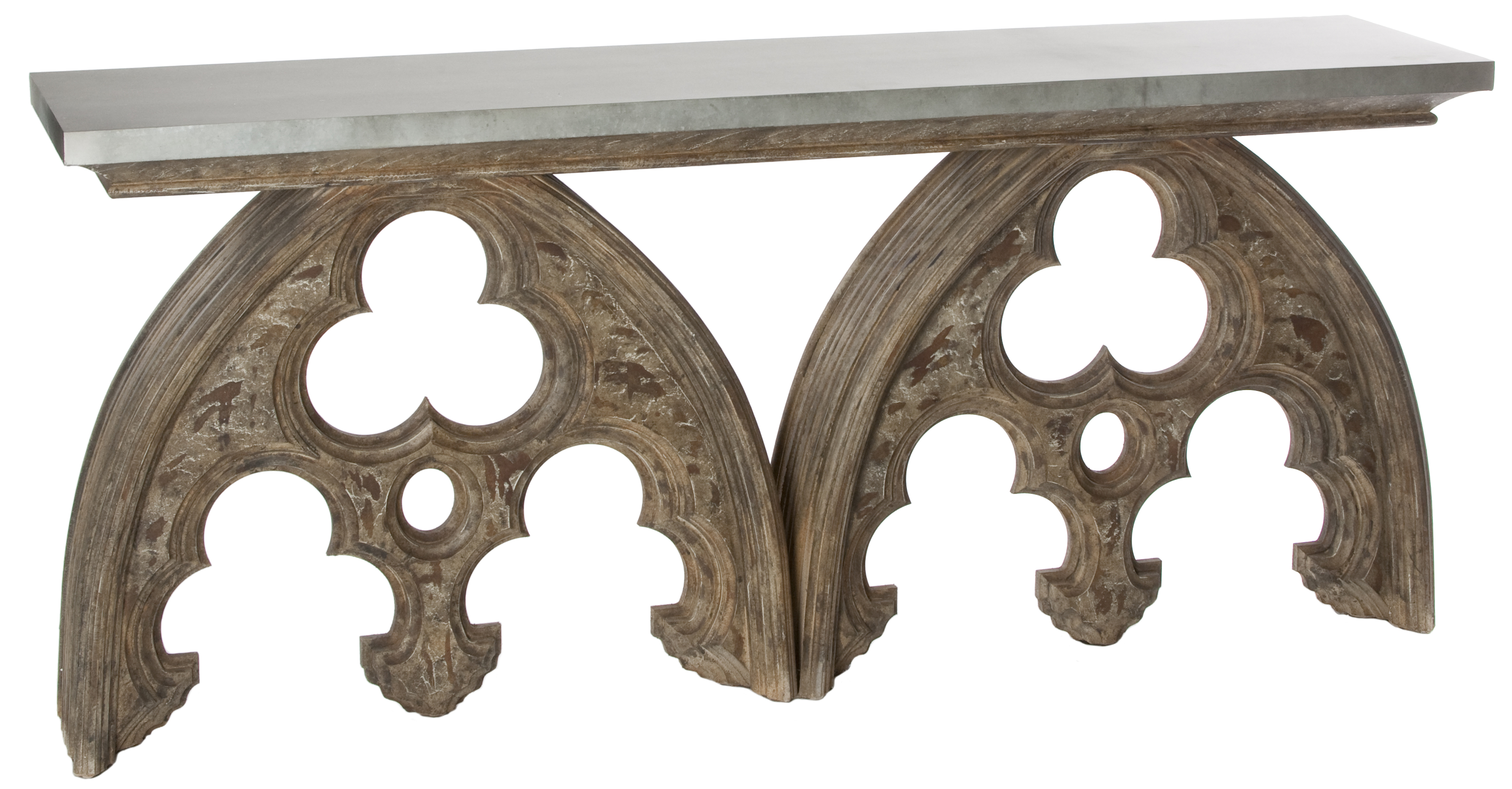 Gothic French European Cathedral Arch Console Table Tin Top