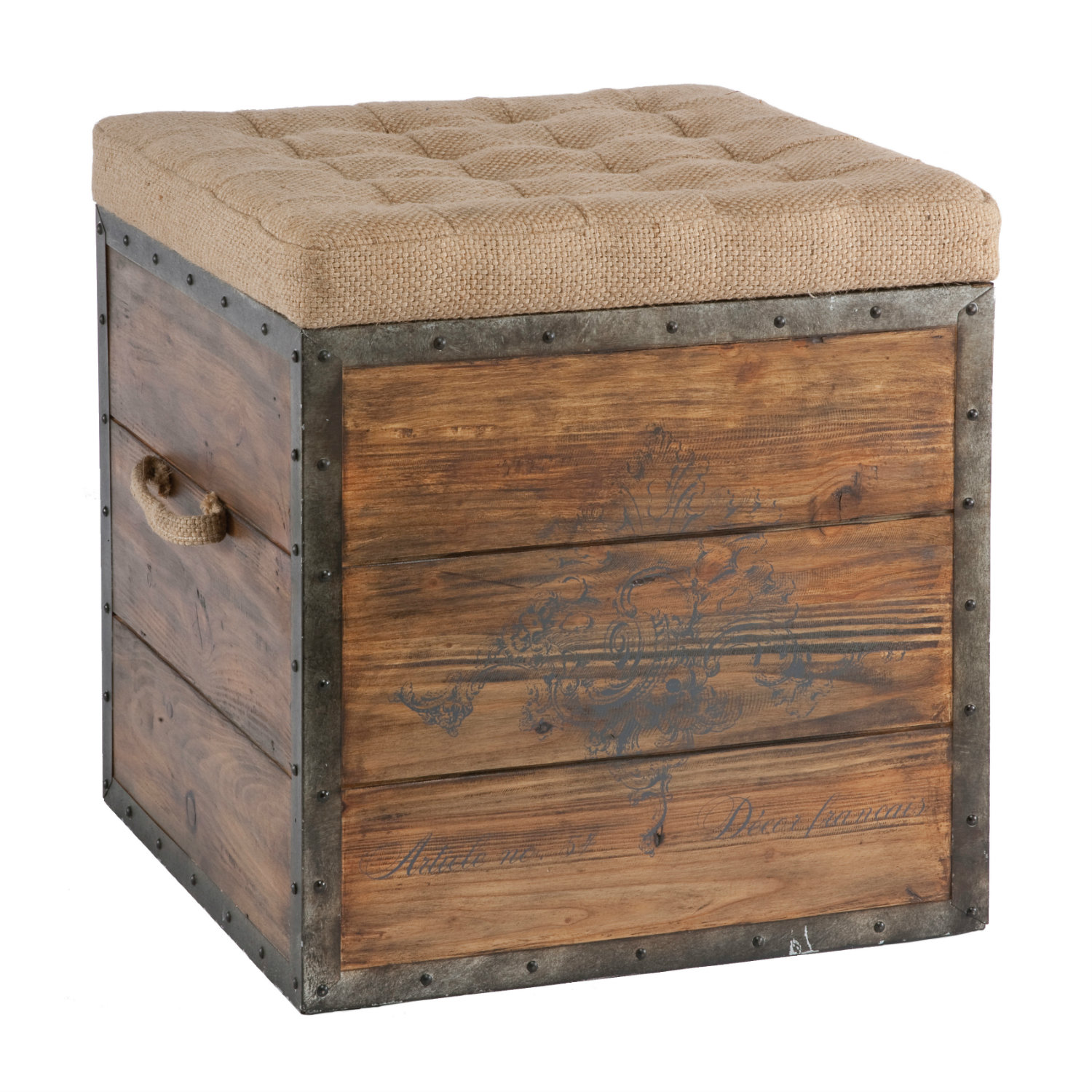 Wonderful image of French Country Wood Crate Burlap Top Cube Ottoman with #8B5F40 color and 1116x1140 pixels