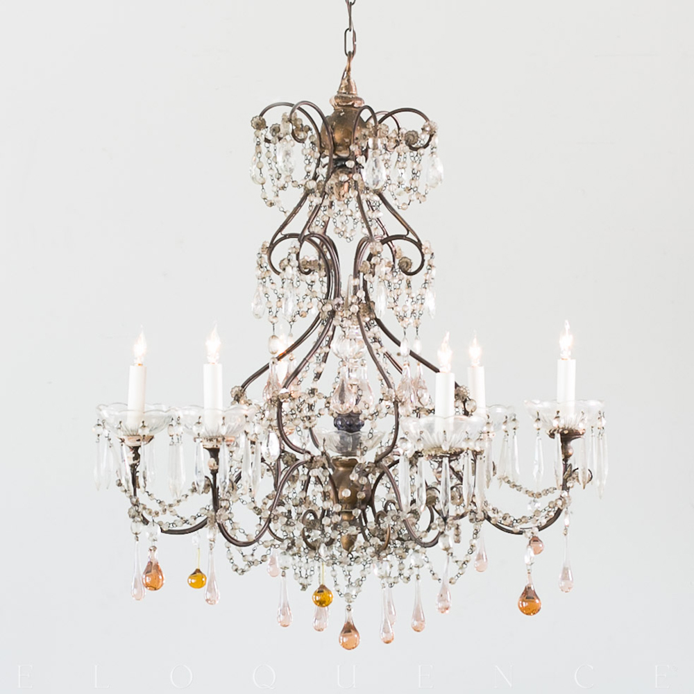 Eloquence French Country Style Antique Chandelier 1900 Designer Chandeliers Eclectic Kathy Kuo Home