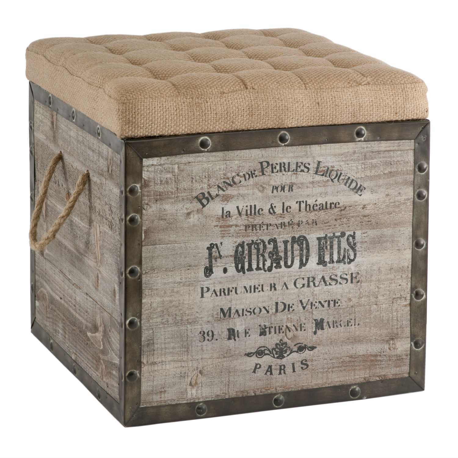 Wonderful image of French Country Vintage Crate Burlap Cushion Cube Storage Ottoman with #7A6451 color and 1464x1458 pixels