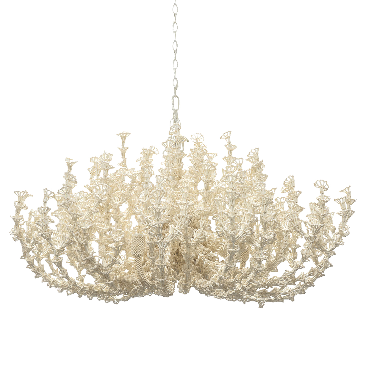 Designer chandeliers eclectic chandeliers kathy kuo home palecek seychelles coastal beach white coco beaded chandelier arubaitofo Image collections