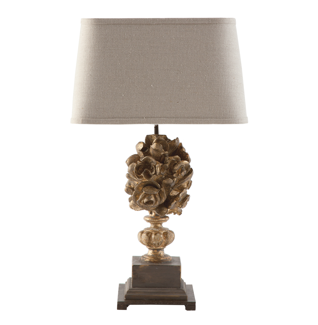 Gold And Gray Console Table With Leaf Lamp