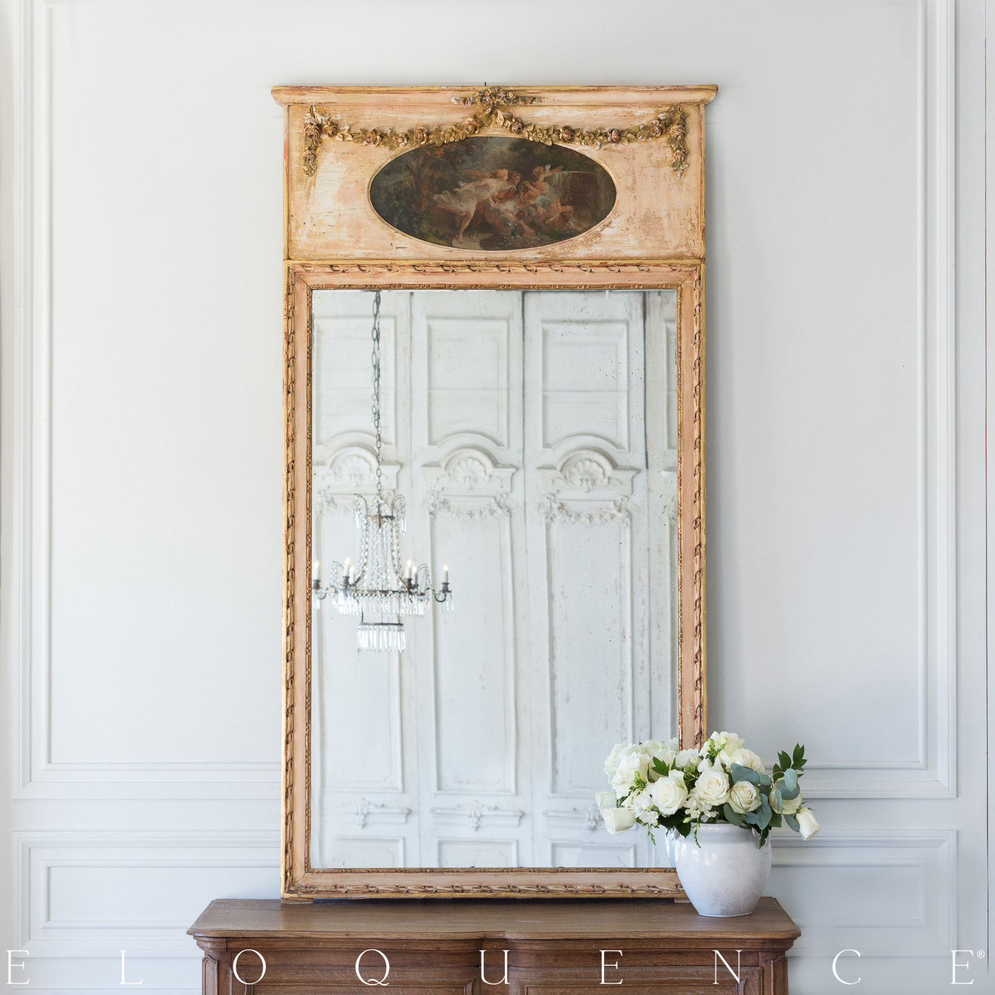 Eloquence French Country Style Antique Trumeau Mirror 1850