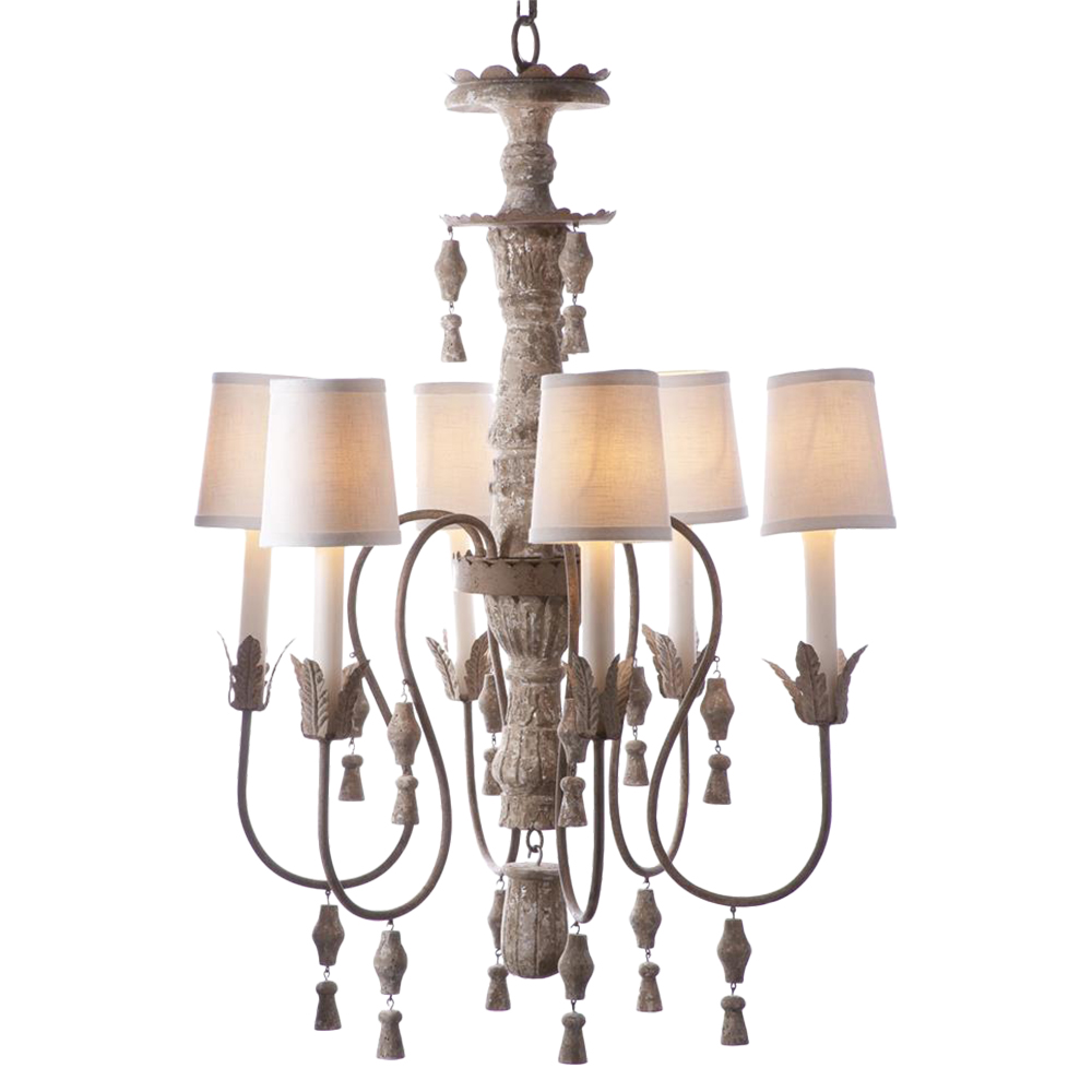 Chandler French Country Aged Cream Distressed 6 Light Chandelier