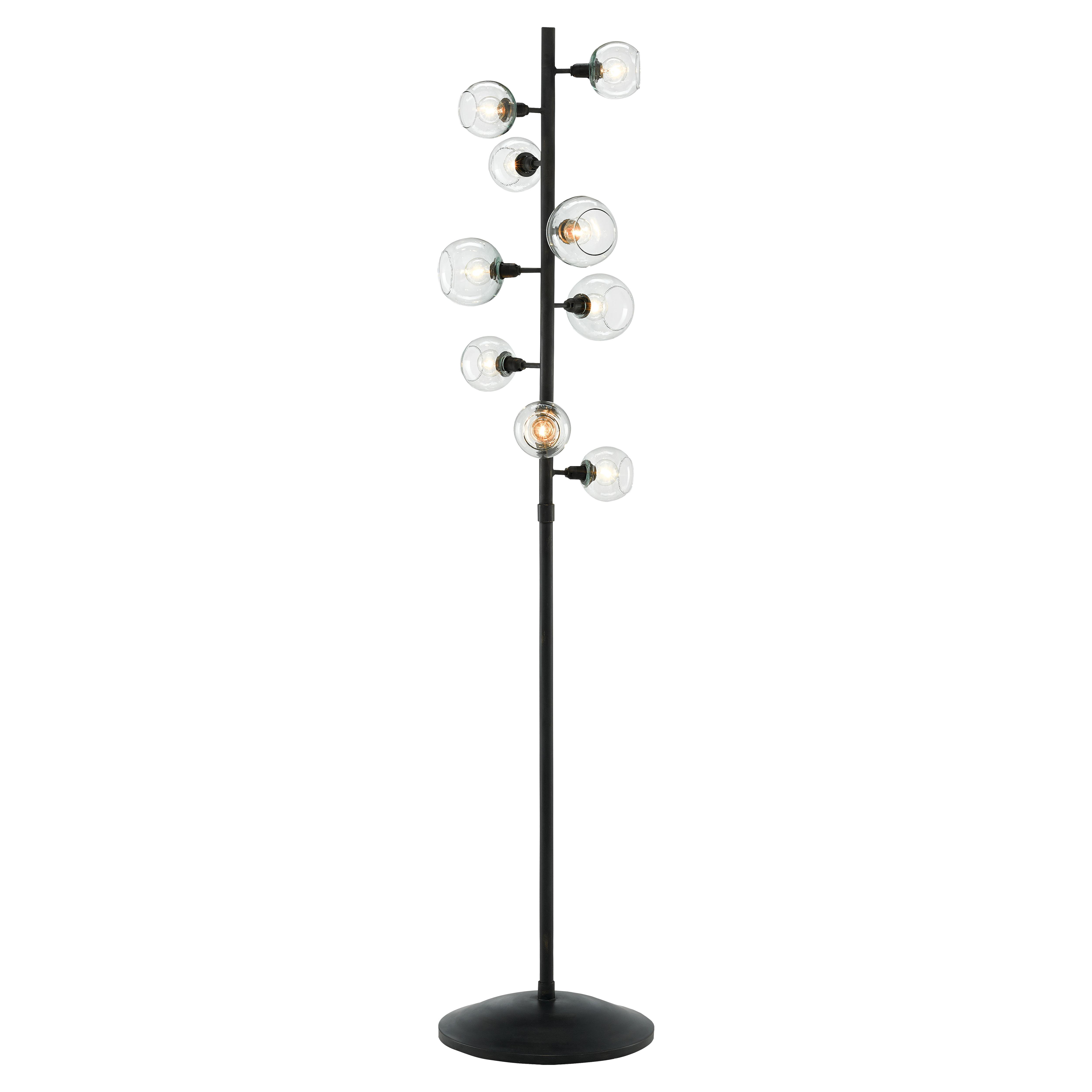 Jakob Modern Industrial Black Iron Glass Shade 9 Light Floor Lamp