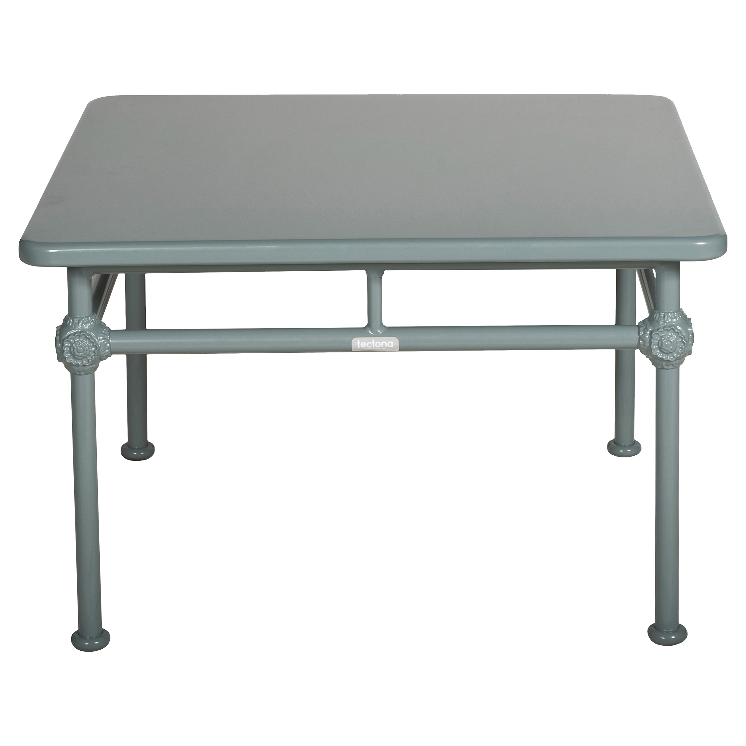 Tectona French Country Grey Blue Aluminum Square Outdoor Coffee Table