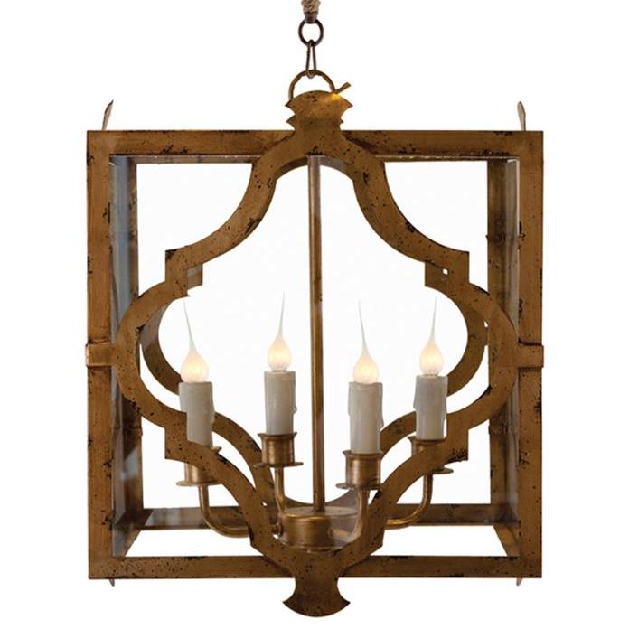 Estelle Antique Gold Open Cube Lantern Pendant Lamp