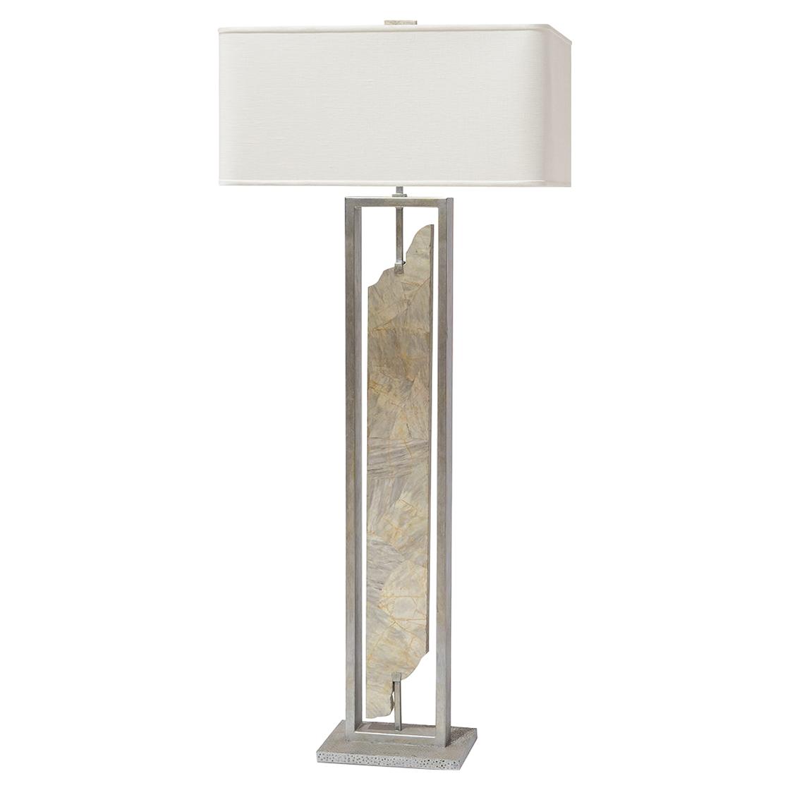Designer floor lamps eclectic floor lamps kathy kuo home palecek soloman modern classic marble metal base floor lamp aloadofball Choice Image
