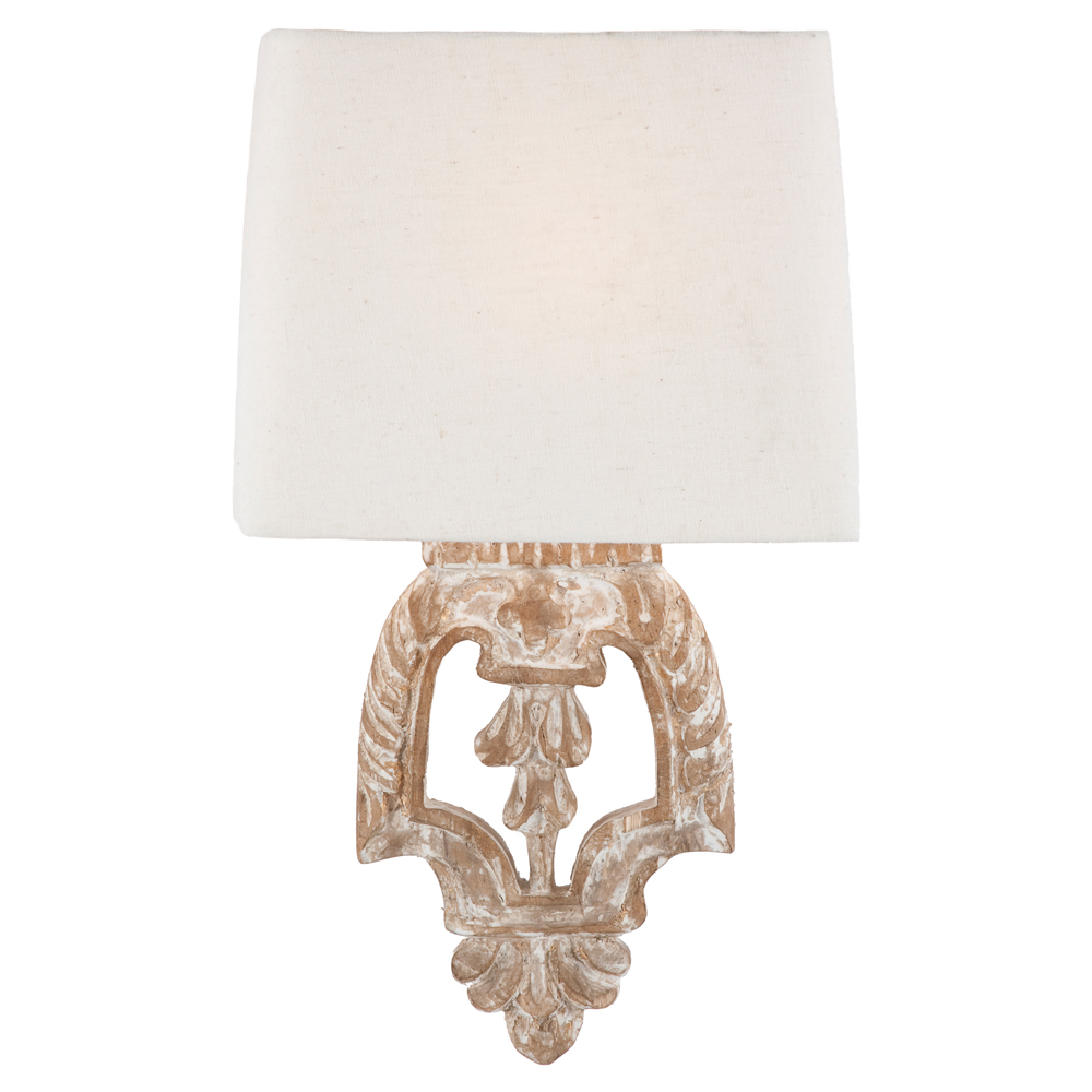 Pair Dorene Shabby Chic White Wash Architectural Wall Sconces
