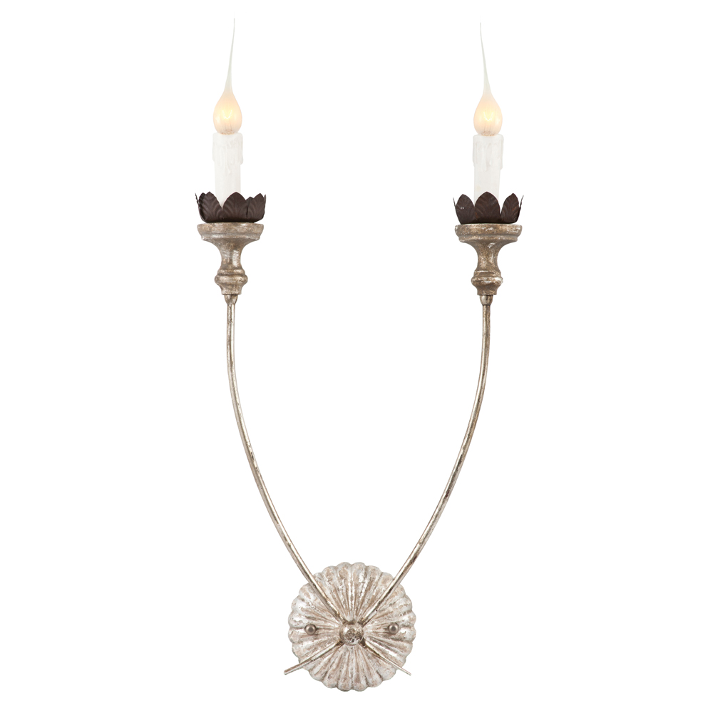 Hass Antique Silver French Manor 2 Arm Wall Sconces - Pair