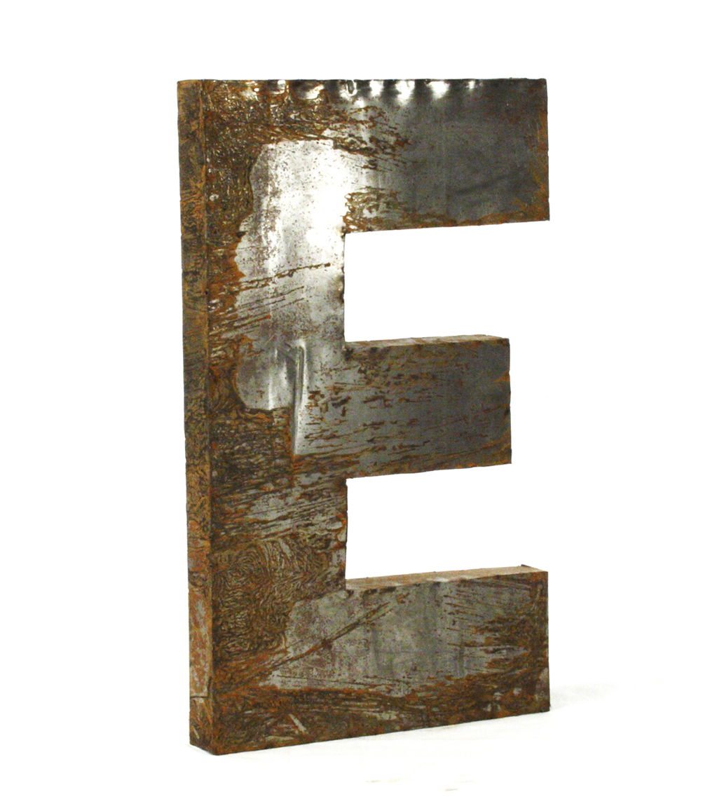 Industrial Rustic Metal Large Letter E 36 Inch
