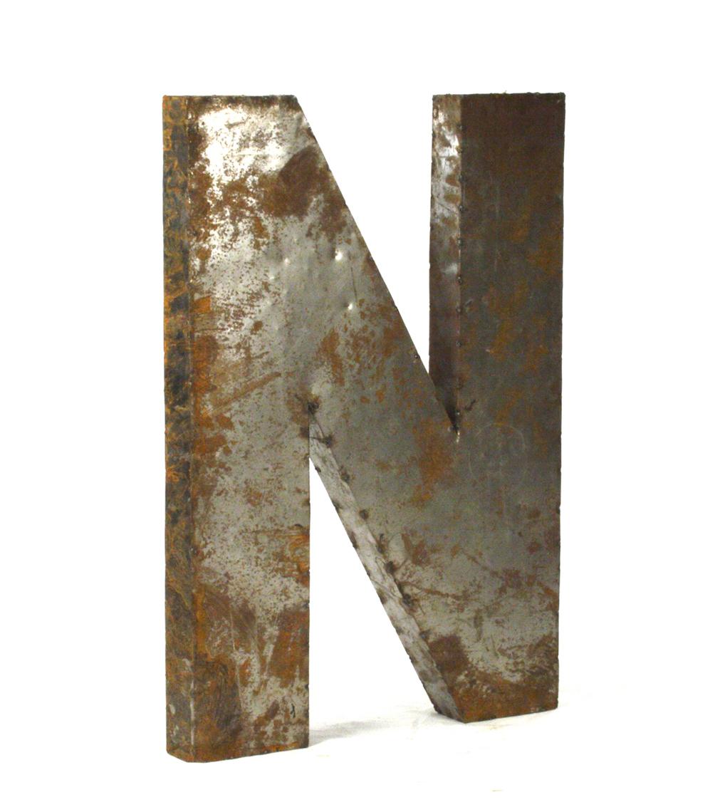 Industrial Rustic Metal Large Letter N 36 Inch