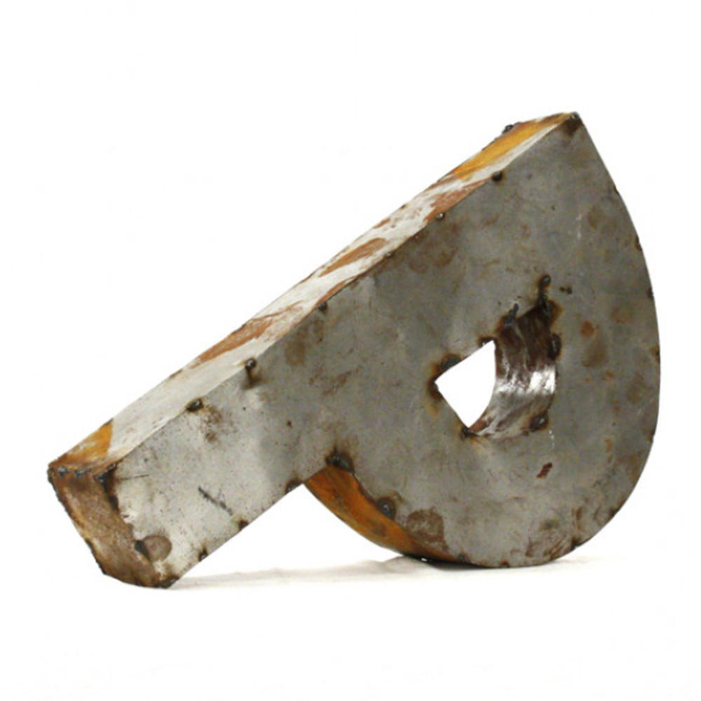 Industrial Rustic Metal Small Letter P 18 Inch