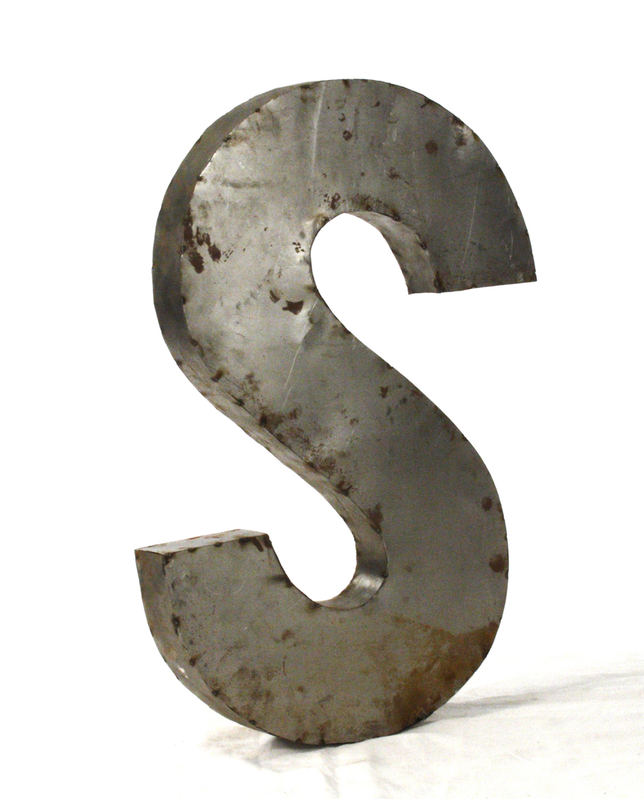 Industrial Rustic Metal Large Letter S 36 Inch