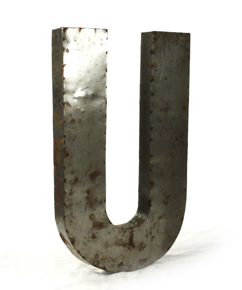 Industrial Rustic Metal Large Letter U 36 Inch