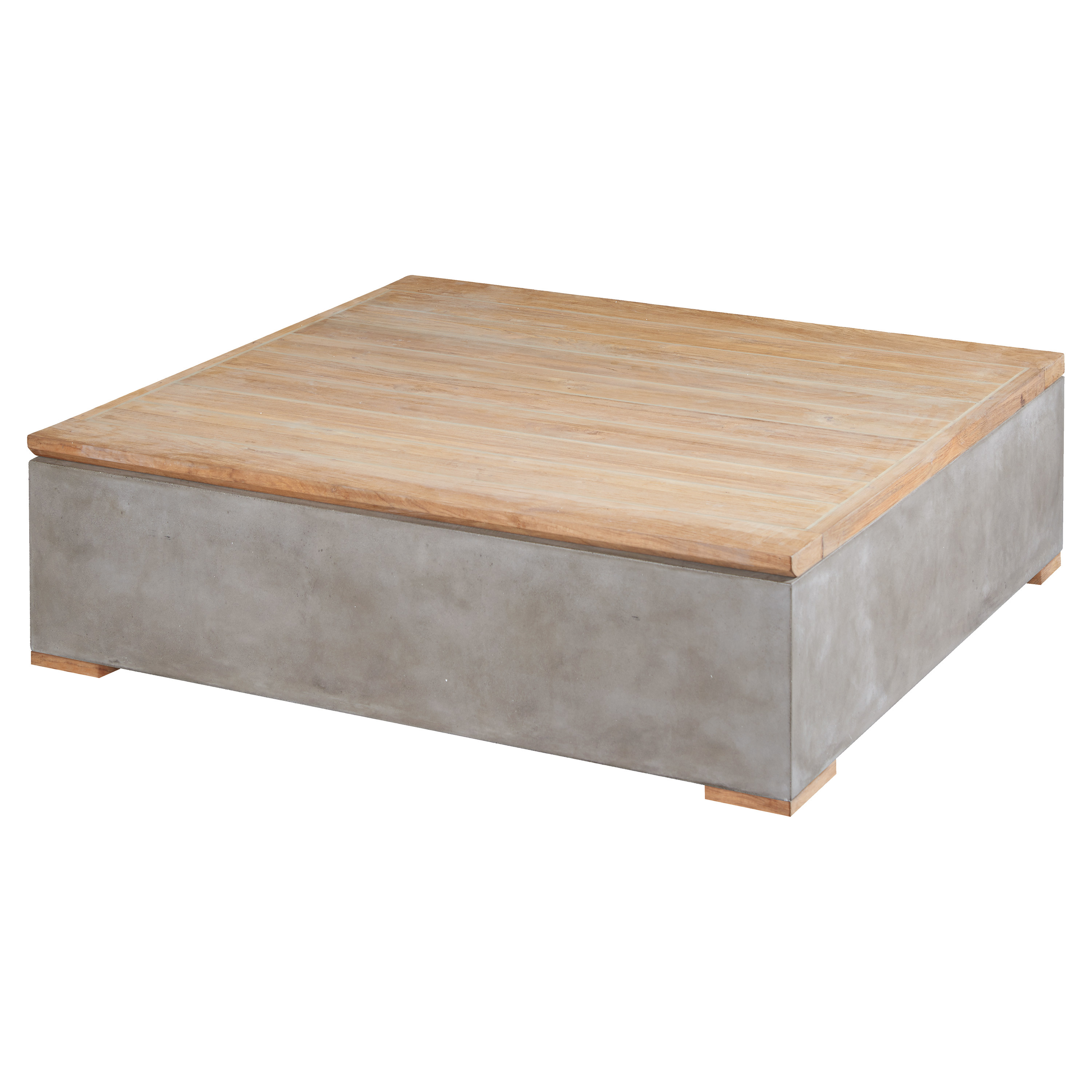 Ian Modern Square Wood Top Grey Concrete Base Outdoor Storage Coffee Table  sc 1 st  Kathy Kuo Home & Outdoor Coffee Tables | Kathy Kuo Home