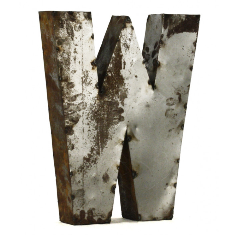 Industrial Rustic Metal Small Letter W 18 Inch