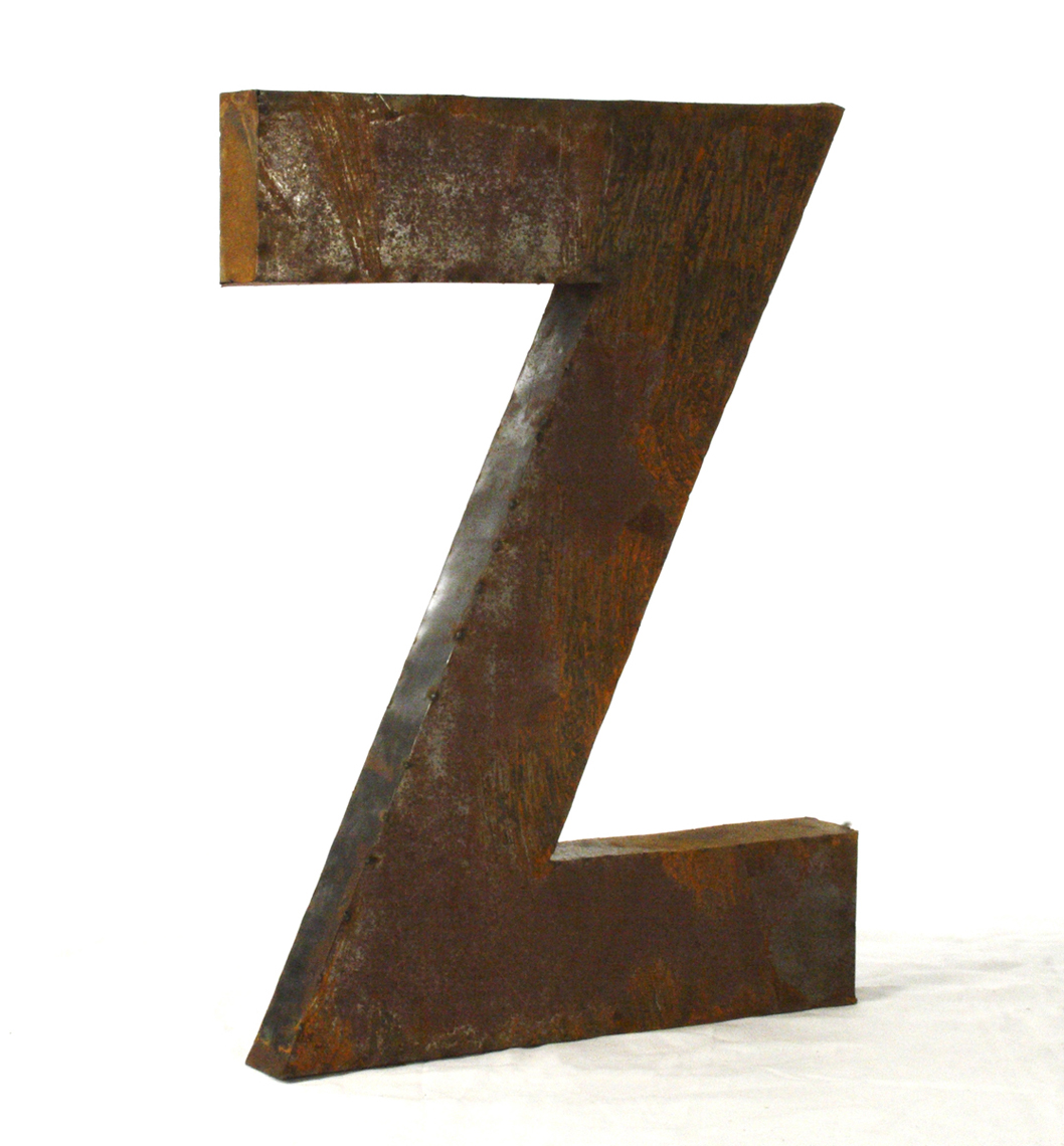 Industrial Rustic Metal Large Letter Z 36 Inch