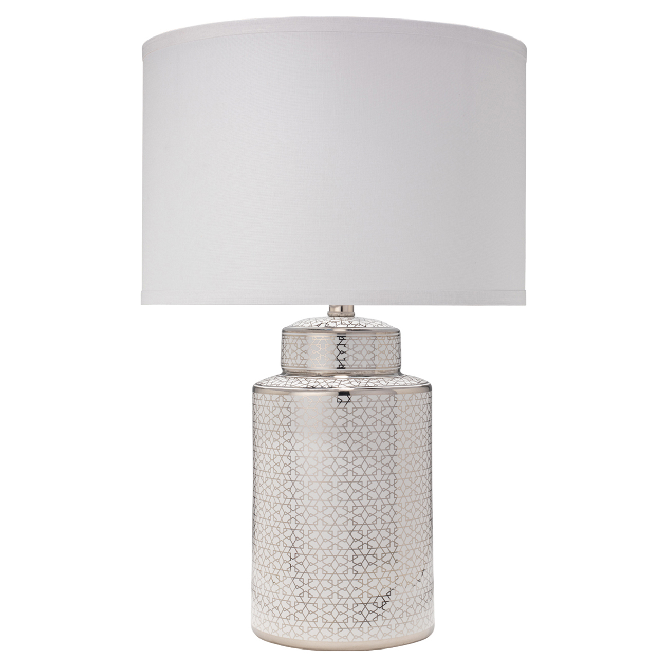 Fiona Modern Classic Silver White Ceramic White Linen Shade Table Lamp