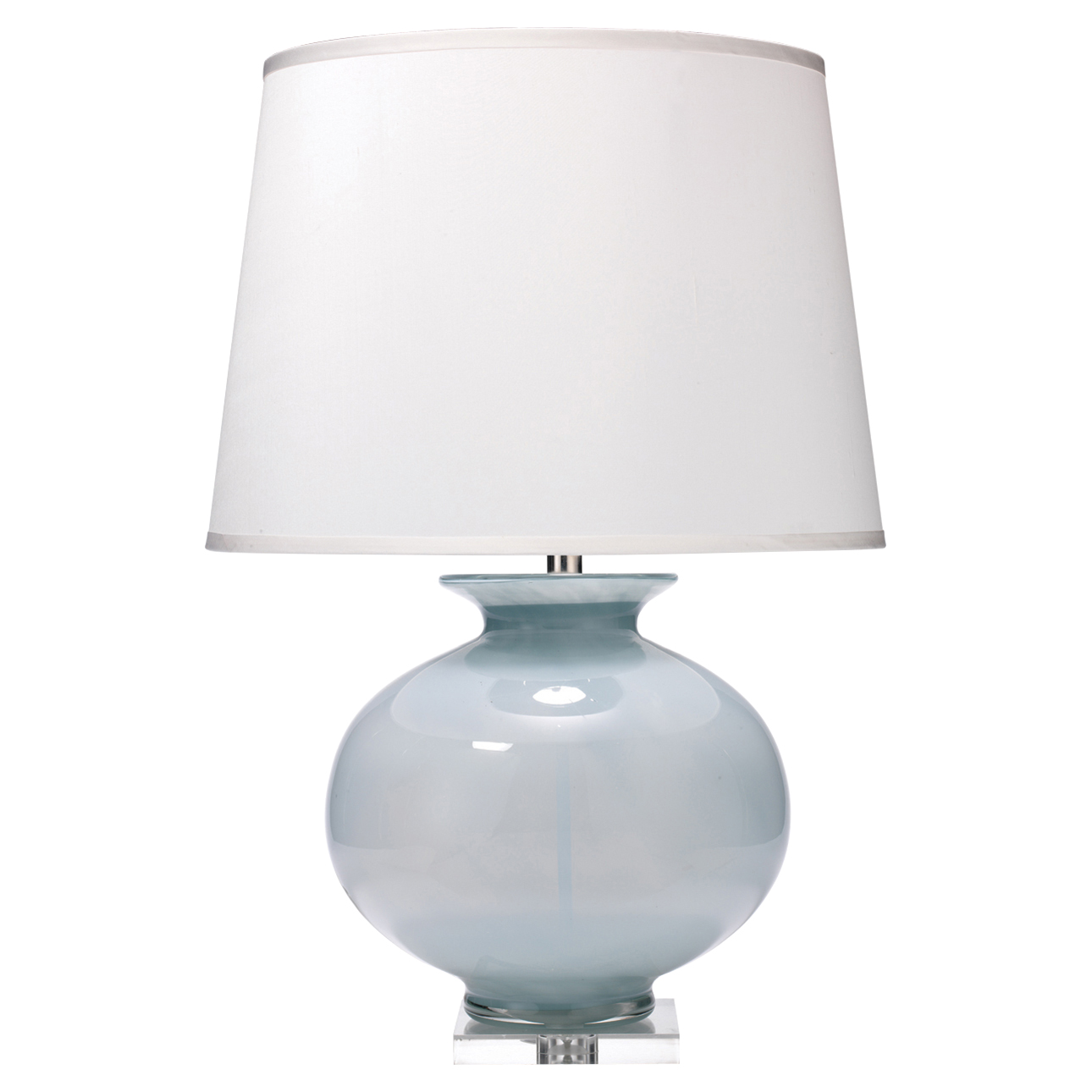 Table lamps kathy kuo home laura modern classic blue glass white silk shade table lamp aloadofball Images