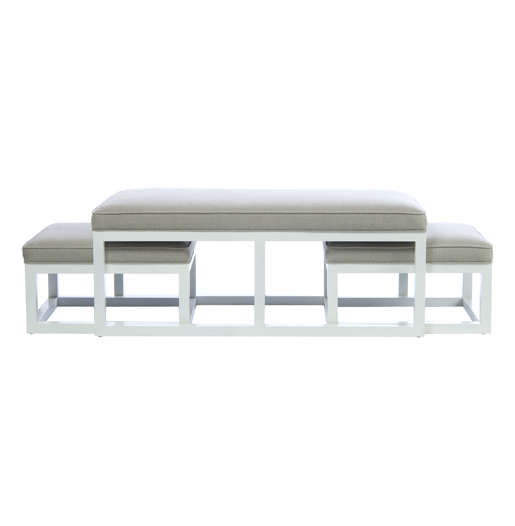 Chatham White Coffee Table Ottoman with Stools - Flax Linen