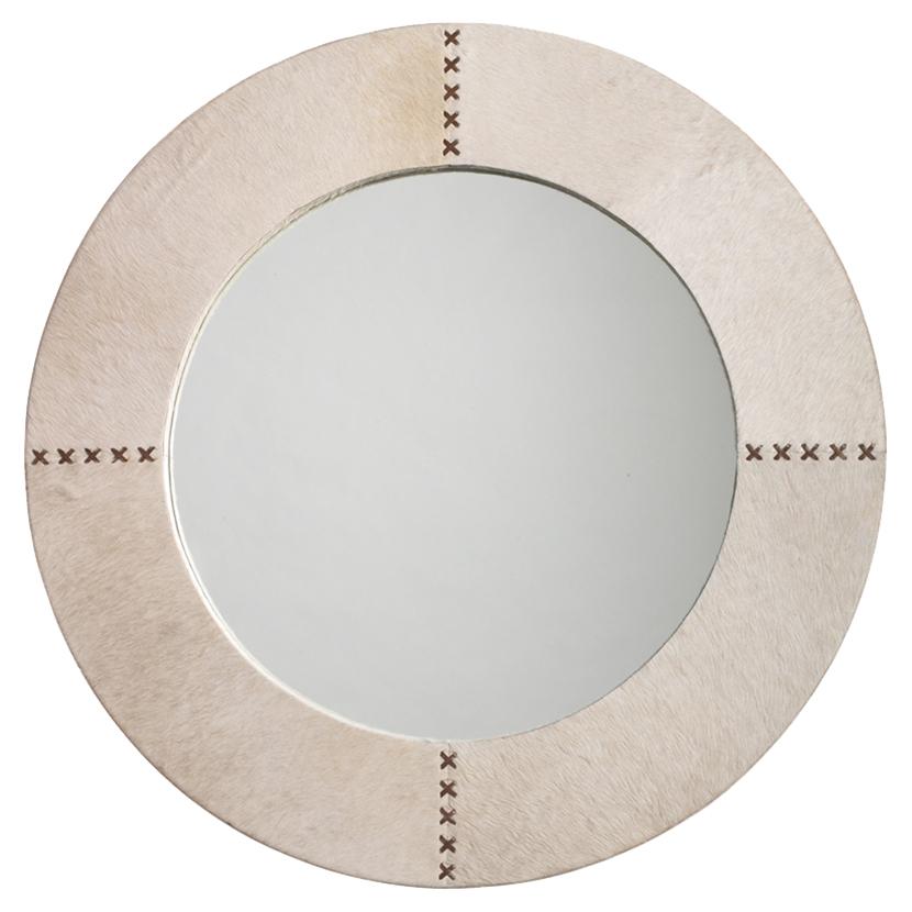 Tessa Modern Classic Round Ivory Hide Wall Mounted Mirror