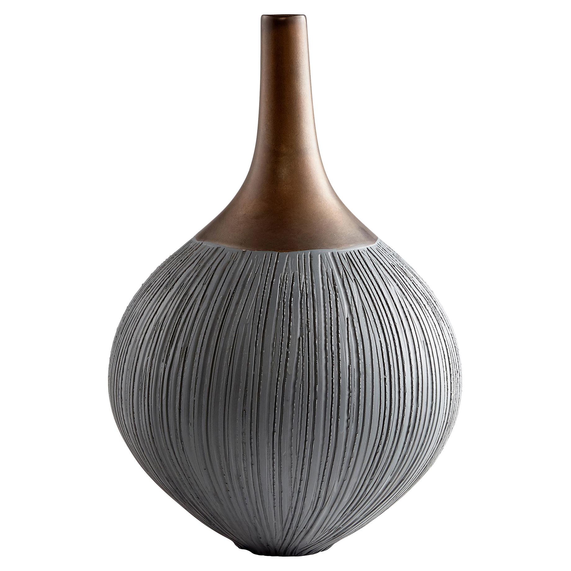 Zoser Global Bazaar Charcoal Grey Bronze Ceramic Vase