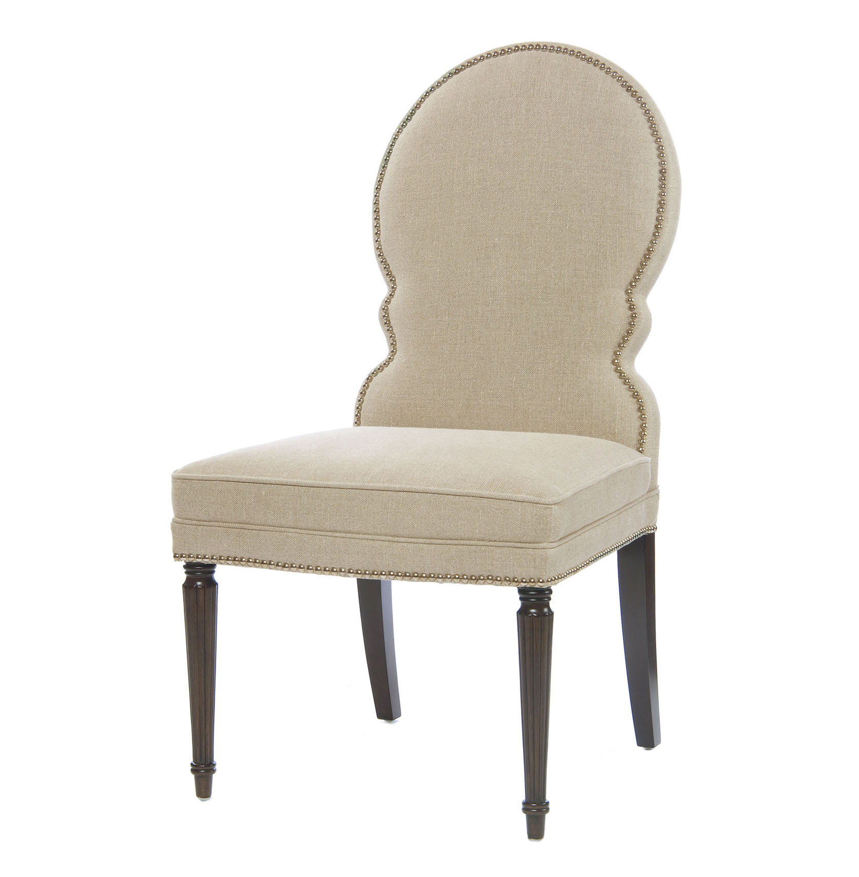 Sadie Venetian Rounded Back Natural Linen Dining Side Chair