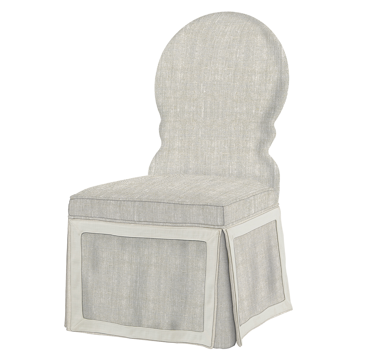 Sadie Venetian Fawn Cream Linen Dining Skirted Dining Chair