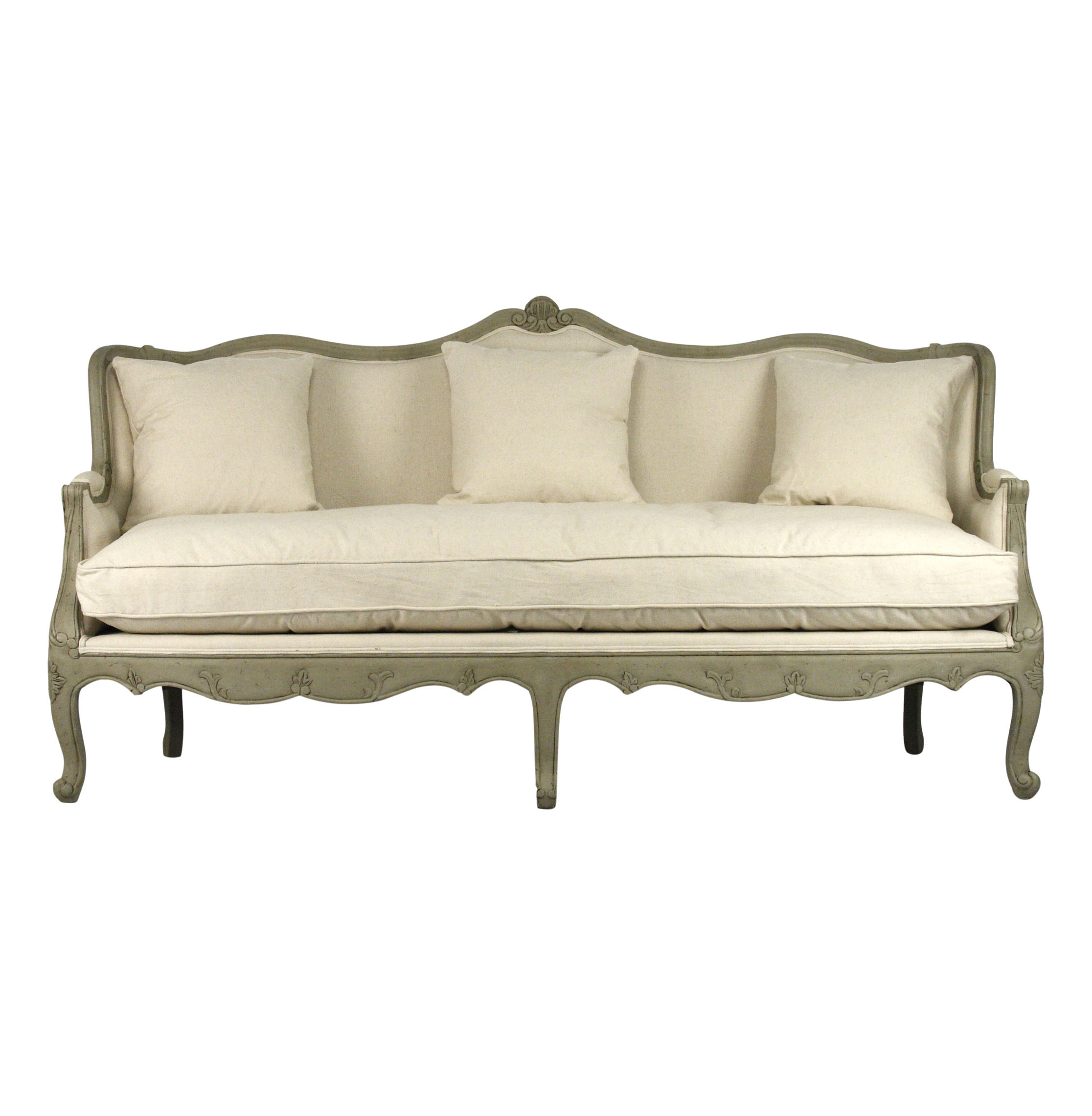 Adele French Country Distressed Sage Green And White Sofa Sofa
