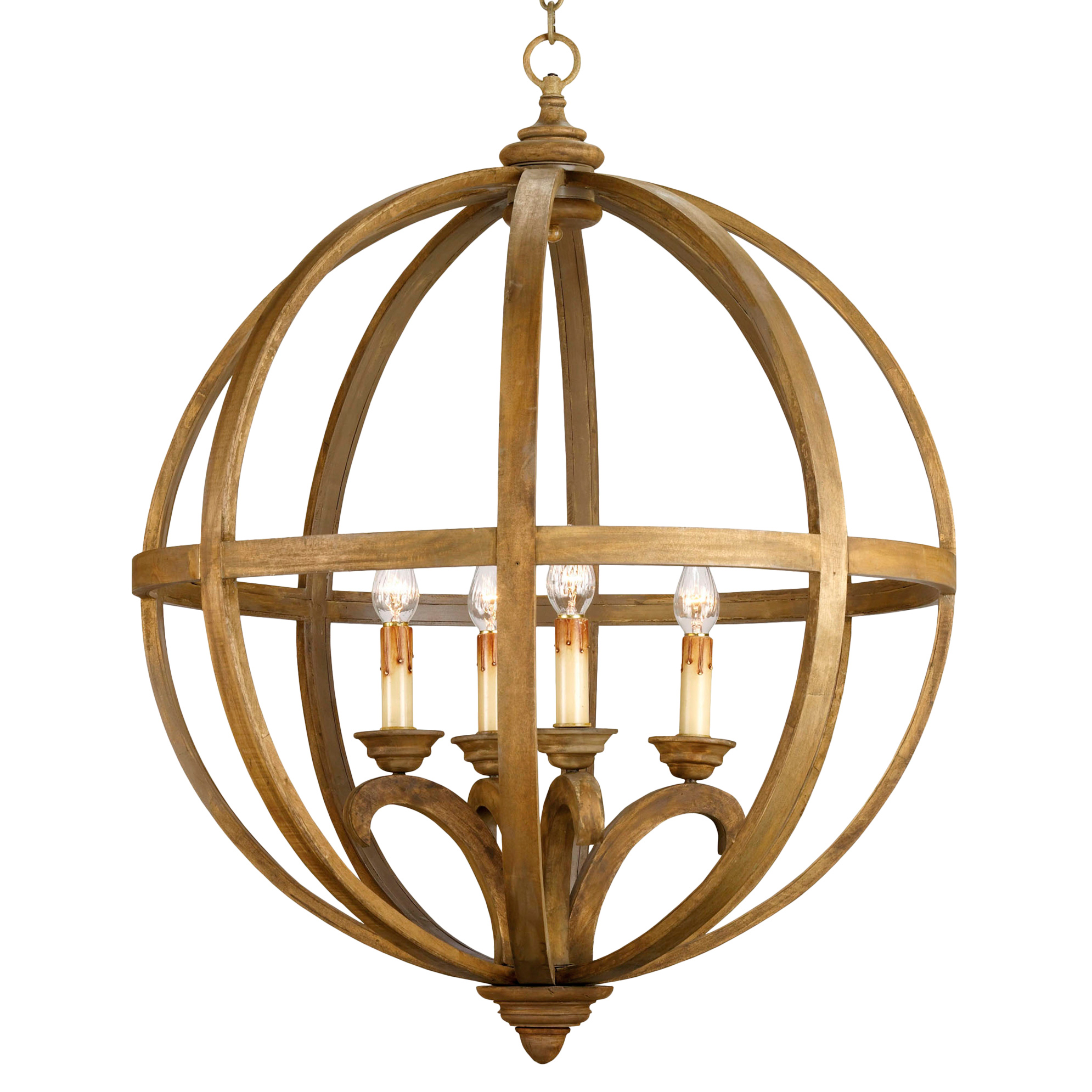 Drexel Orb Curved Wood Round Pendant Chandelier Lamp - 32 Inch