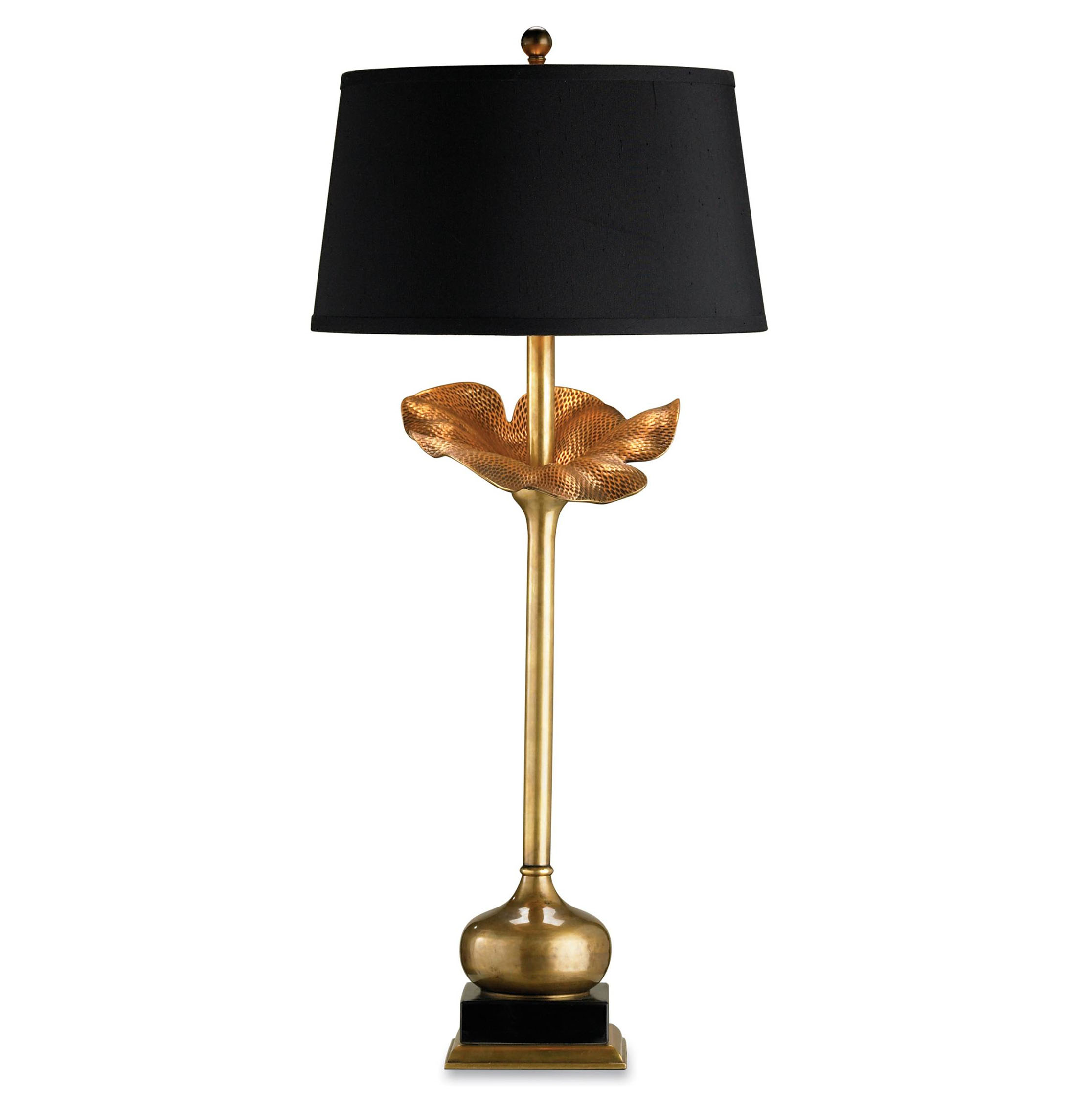 Contemporary Ginkgo Leaf Black and Brass Silk Lamp- 32 Inch