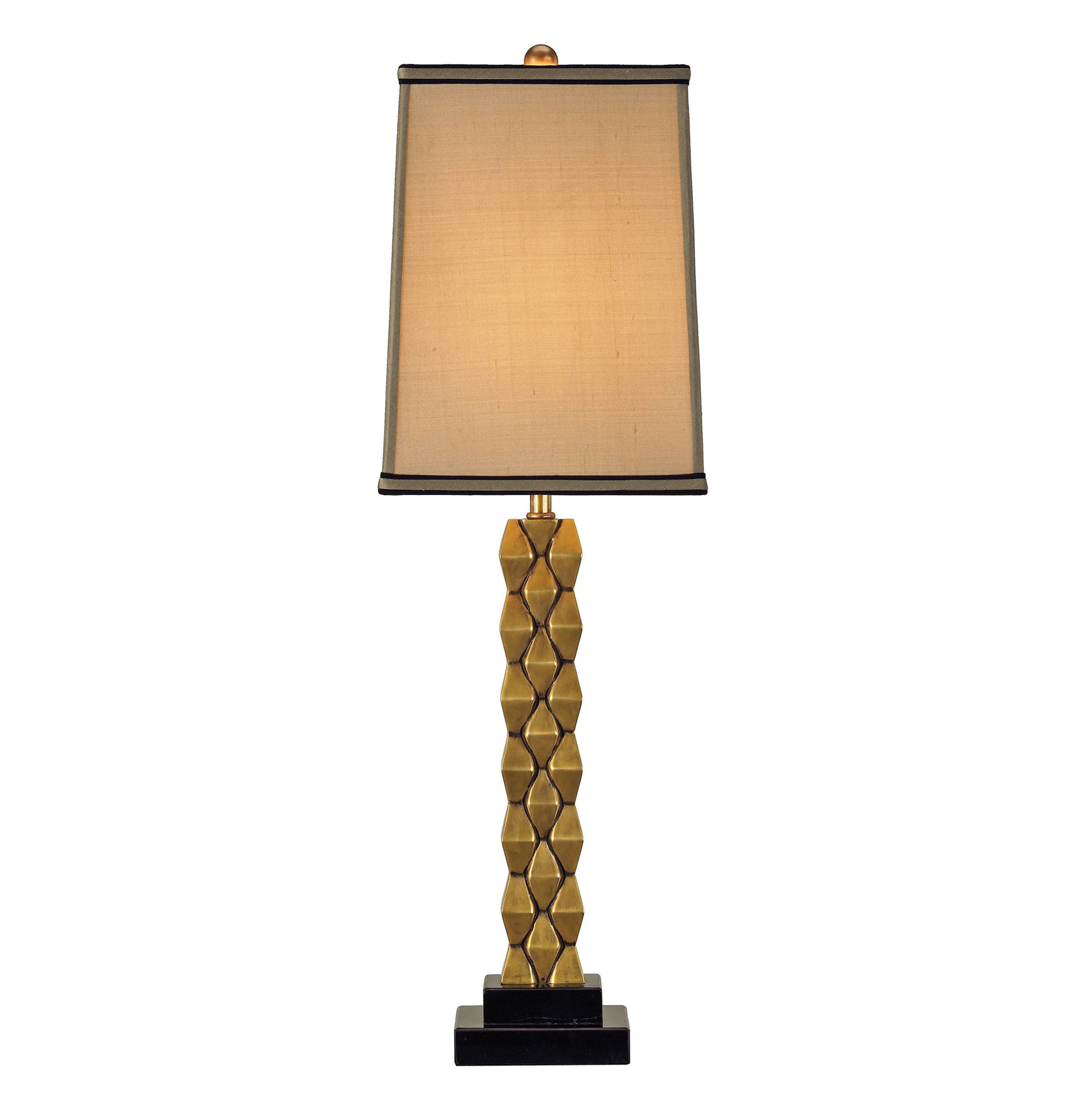 Debonair Tall Cast Brass Column Masculine Table Lamp - 30 Inch
