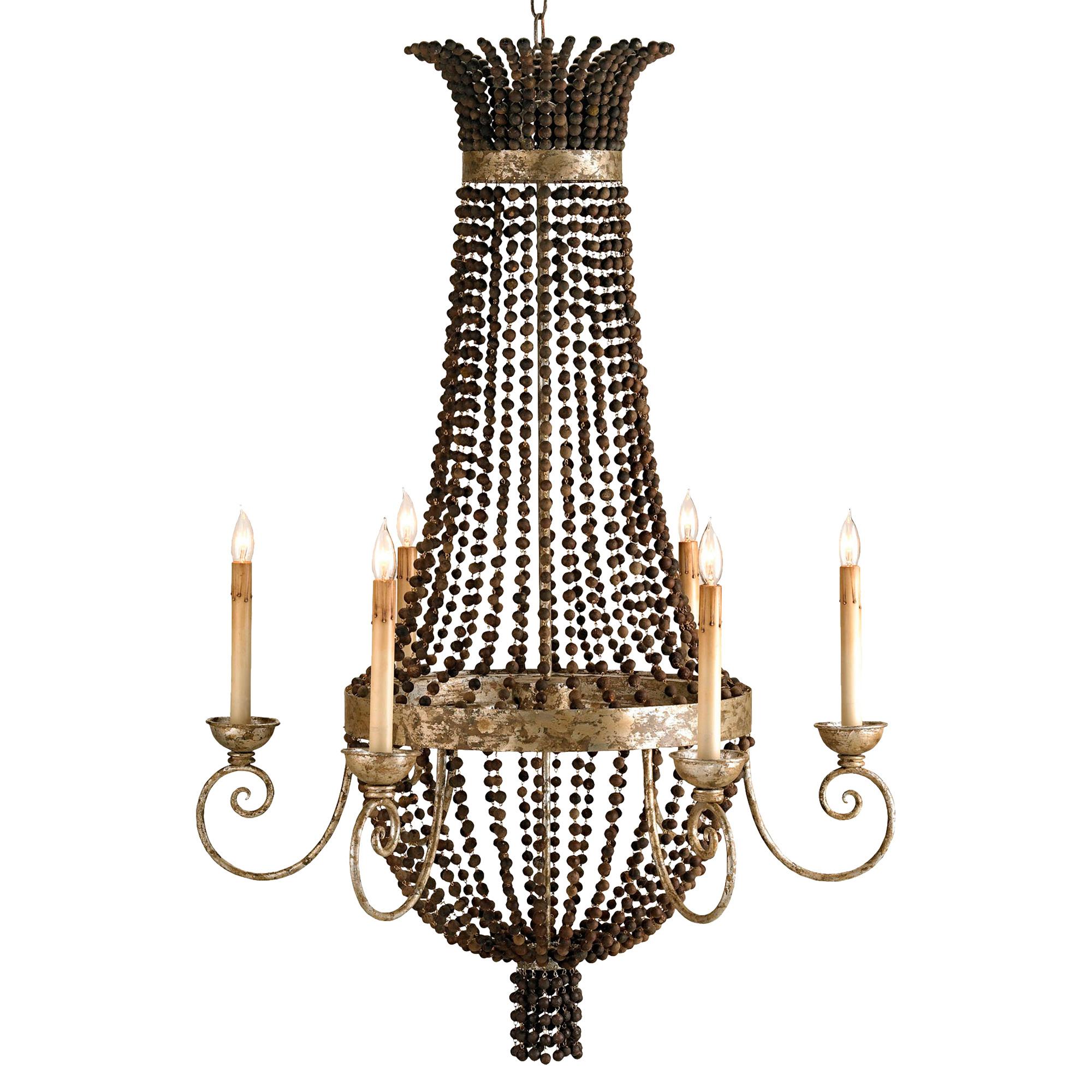 Palmyra Grand Beaded Bowl 6 Light Chandelier
