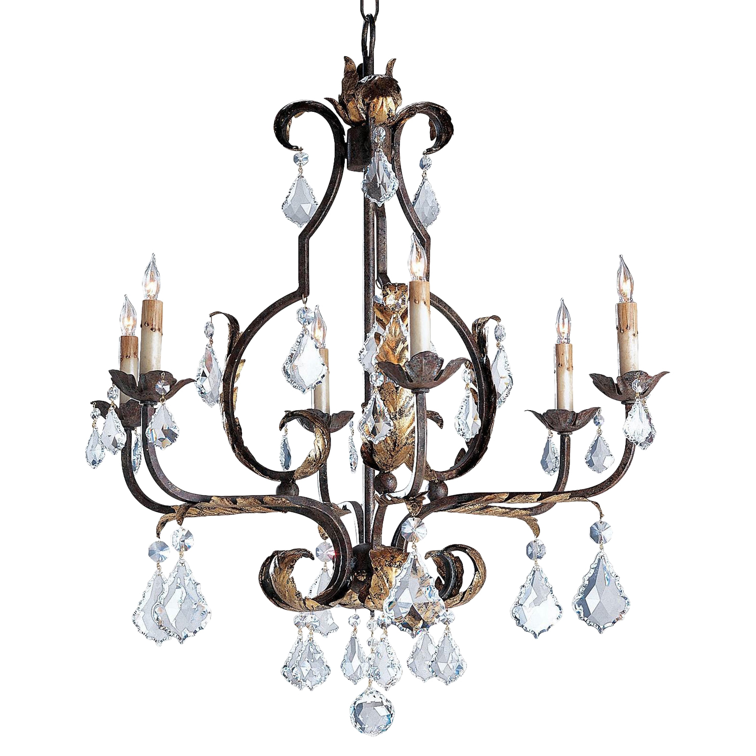 Firenze Italianate Bold Faceted Crystal 6 Light Chandelier