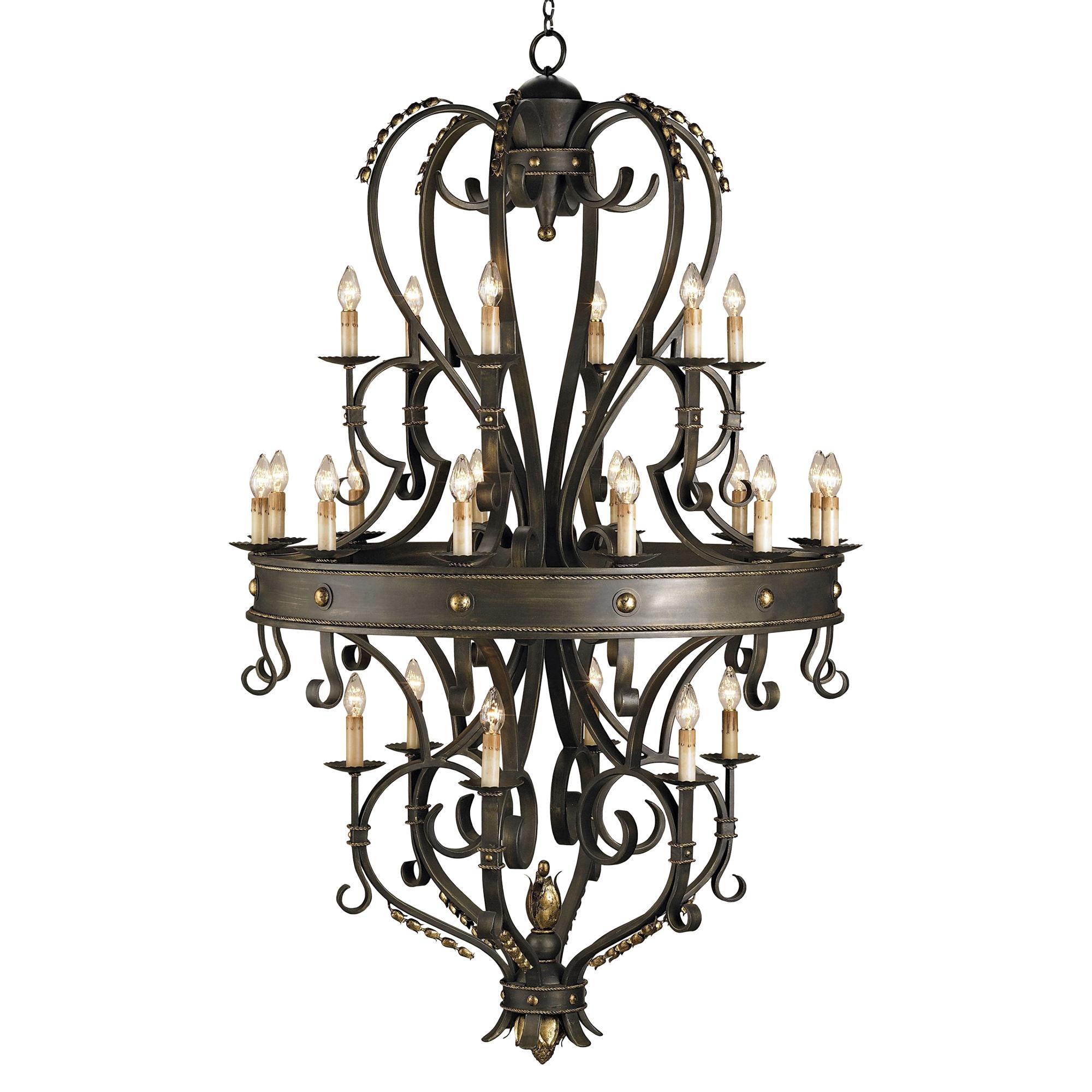 Grand Gothic Revival Black 24 Light Chandelier