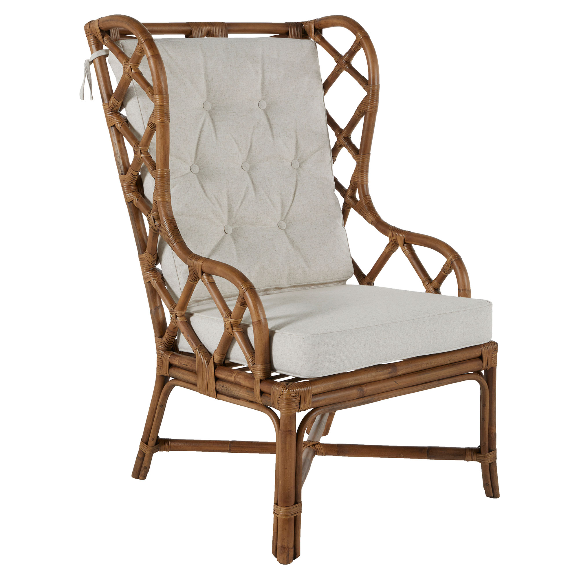 Watson Coastal Large Rattan Wing Back Dining Arm