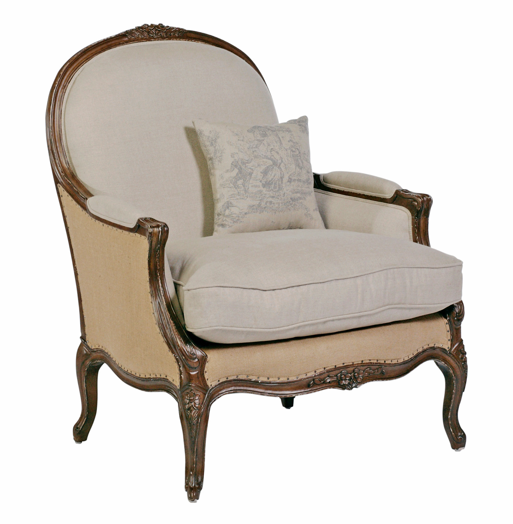 Chloe oversized french country burlap linen bergere accent for Oversized armchair