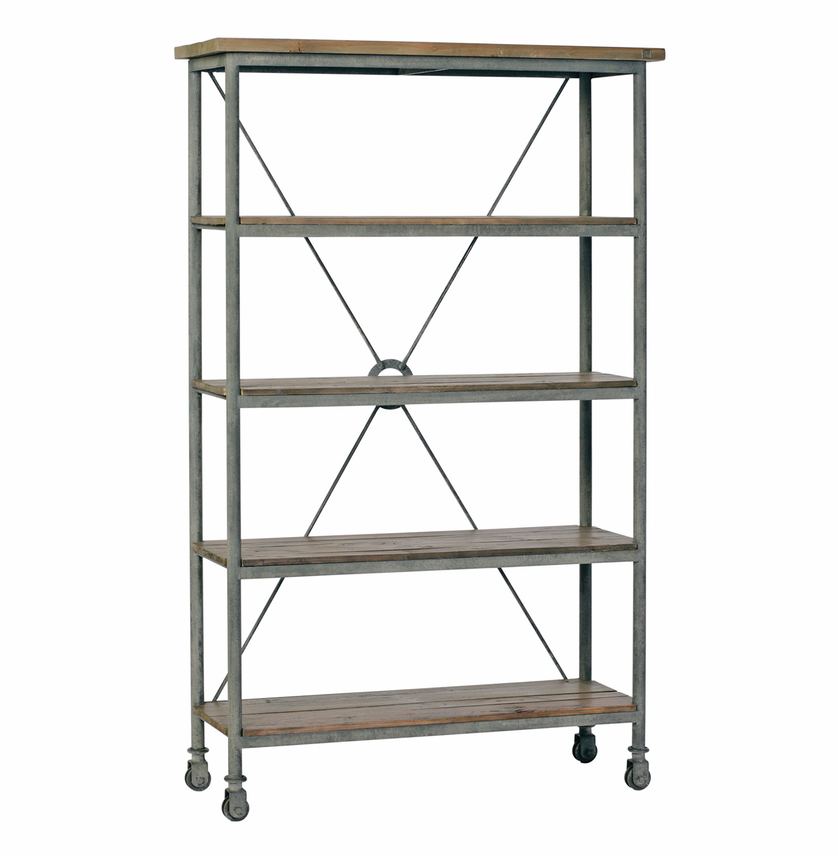 Isabelle Industrial Loft Caster Feet Reclaimed Wood Rolling Bookcase