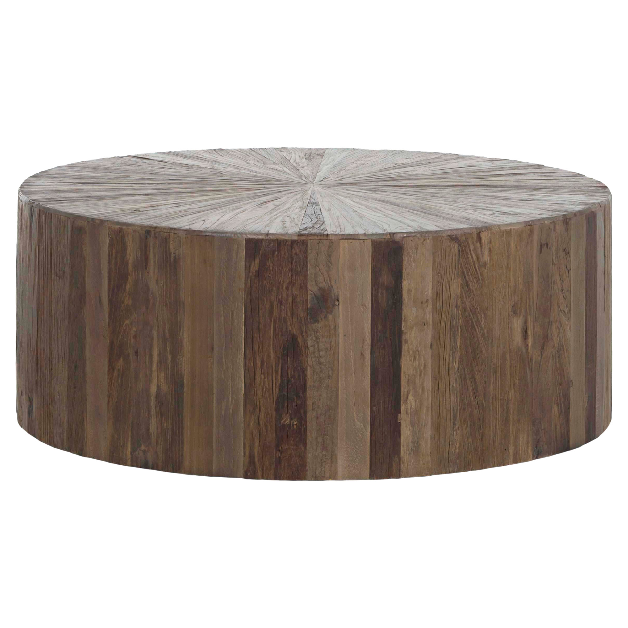 3690 Cyrano Reclaimed Wood Solid Round Drum Modern Eco Coffee Table
