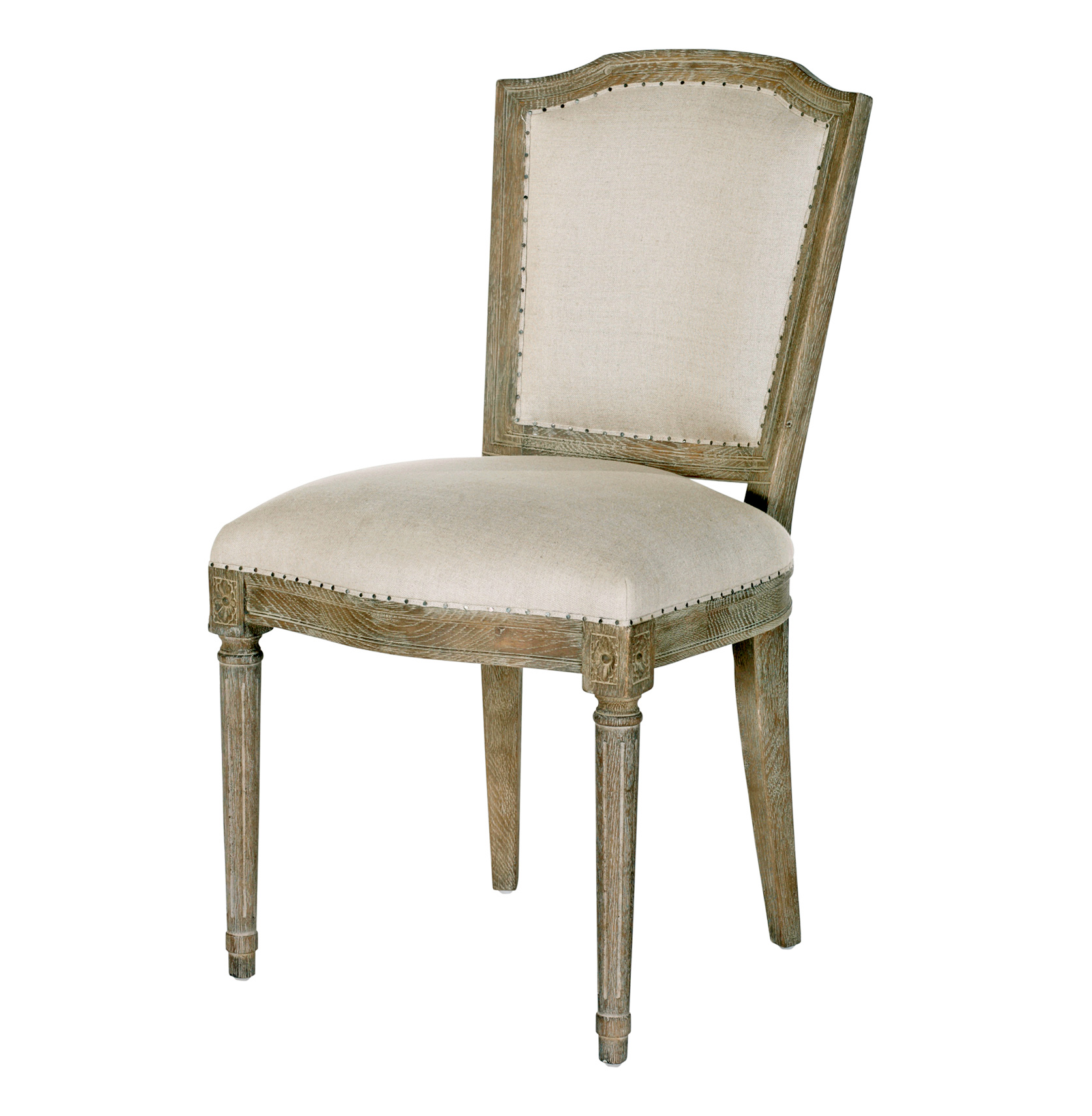 Colette Shield Back French Country Linen Oak Dining Chair- Set of 2